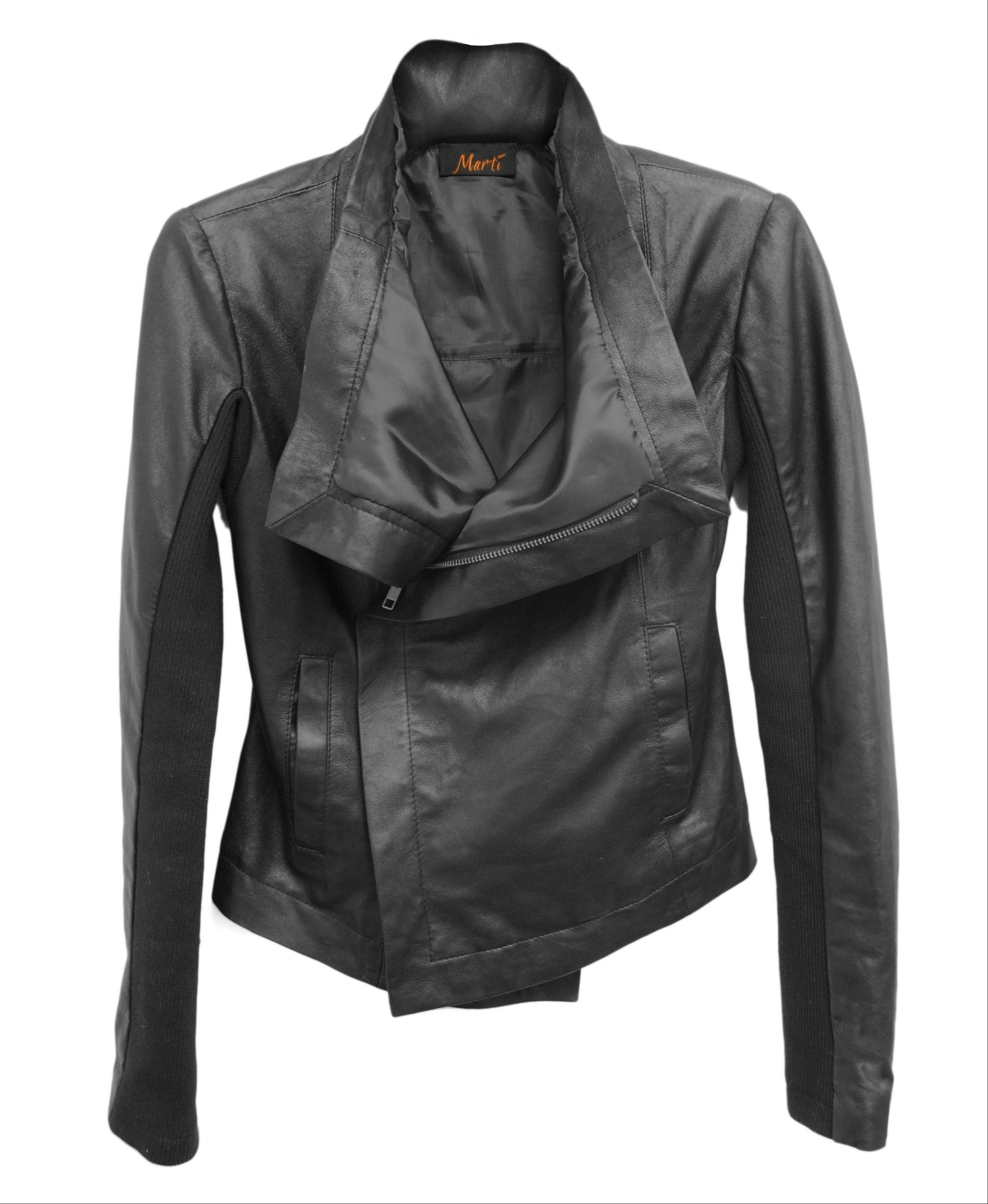 Marti shows a Lisette black leather jacket.