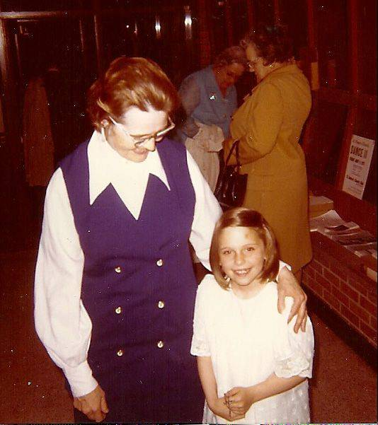 Sister Johanna, pictured during her time as principal of St. Peter school in Geneva, chats with student Martha Masters, now Martha Skog.