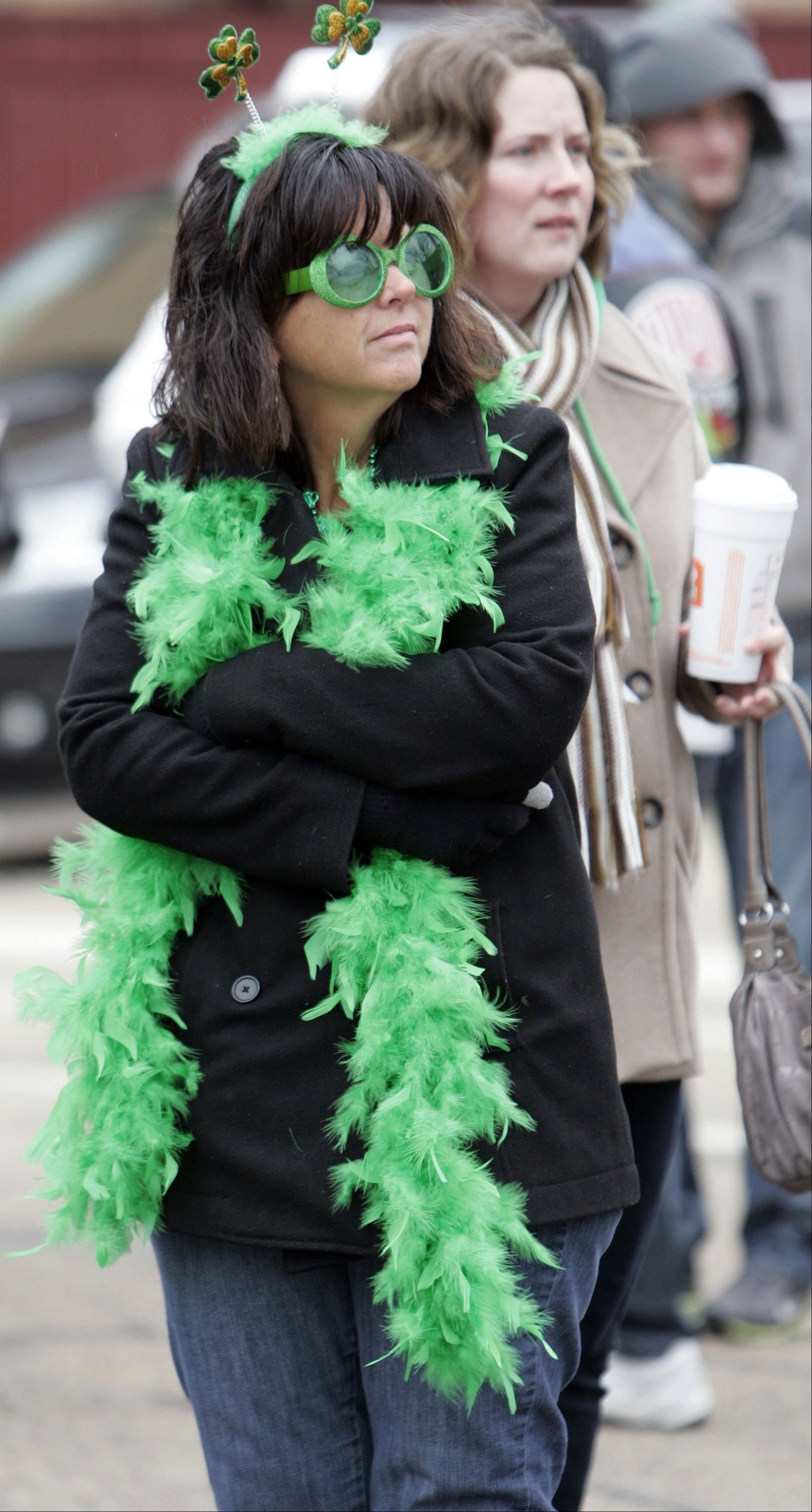 Jackie Shanahan of Crystal Lake adorned herself in green Saturday to watch the Thom McNamee Memorial St. Patrick's Day Parade in East Dundee.