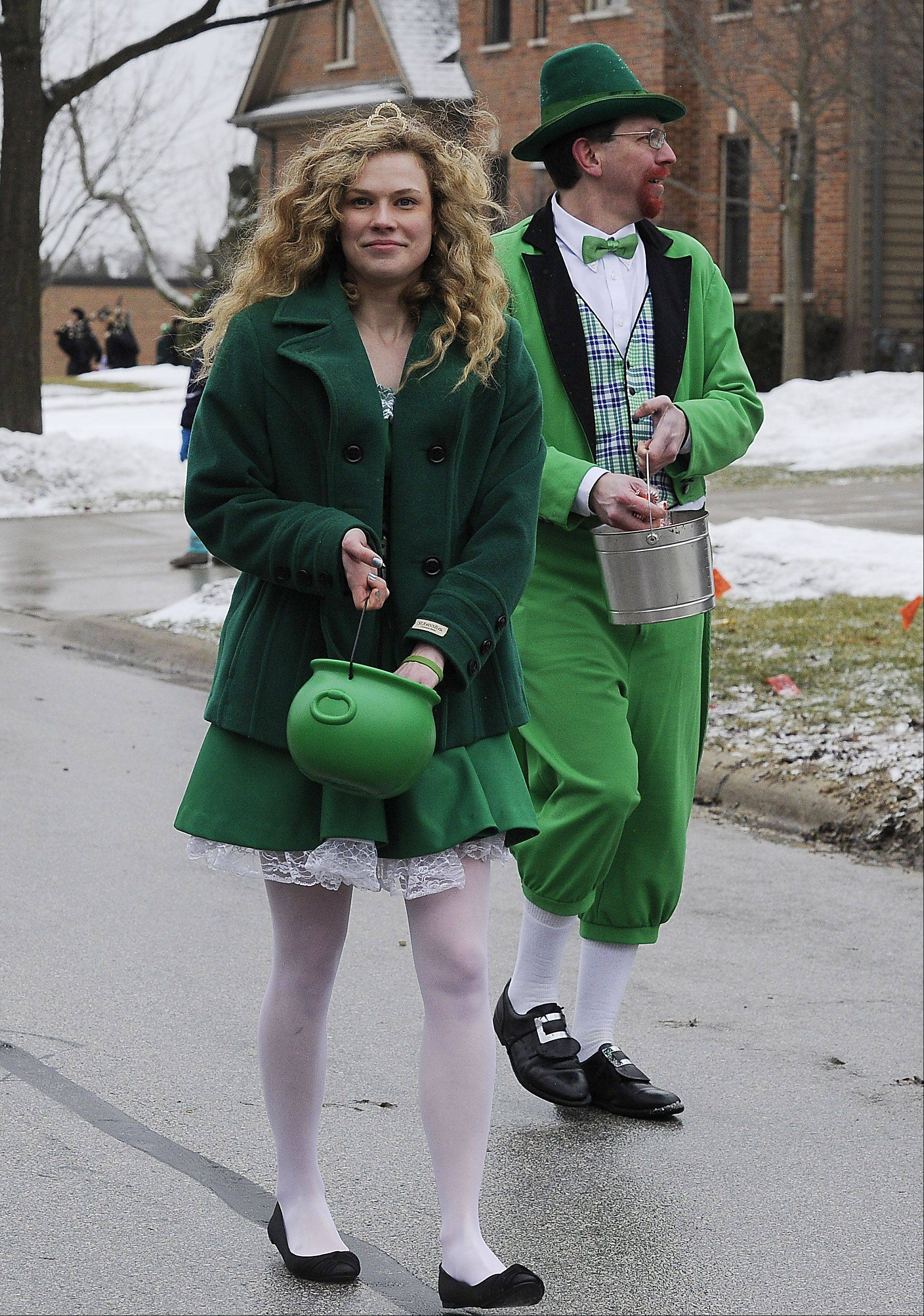 Palatine residents Mary Edgar as Katie M' Lady and Jason Foltyn as Lucky McClover are the grand marshalls at the St. Patrick's Day parade on Saturday.