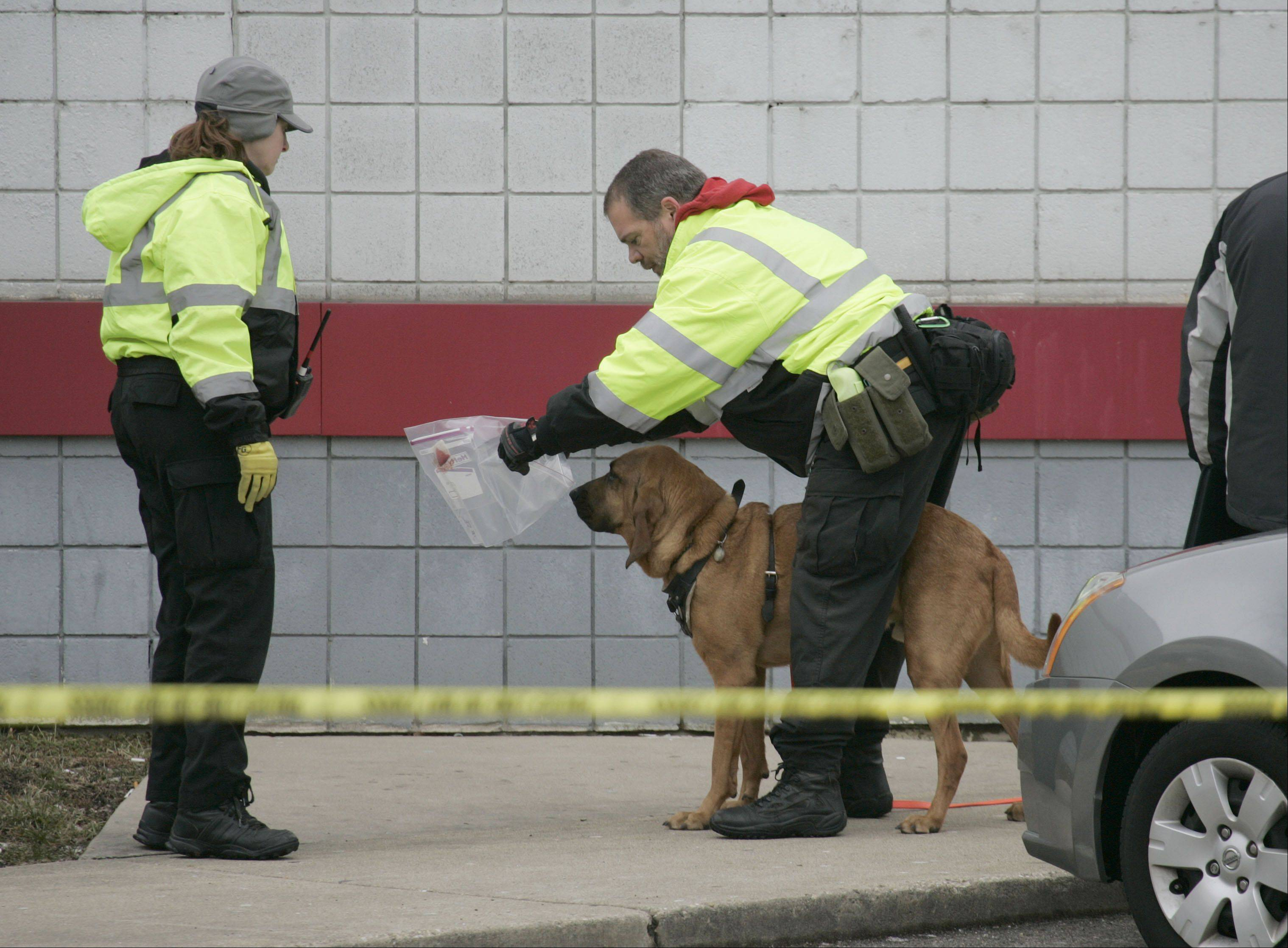 Two unidentified dog handlers prepare for a search as police tape surrounds a gas station where police are reporting that a clerk was stabbed and killed early Saturday morning in Streamwood.