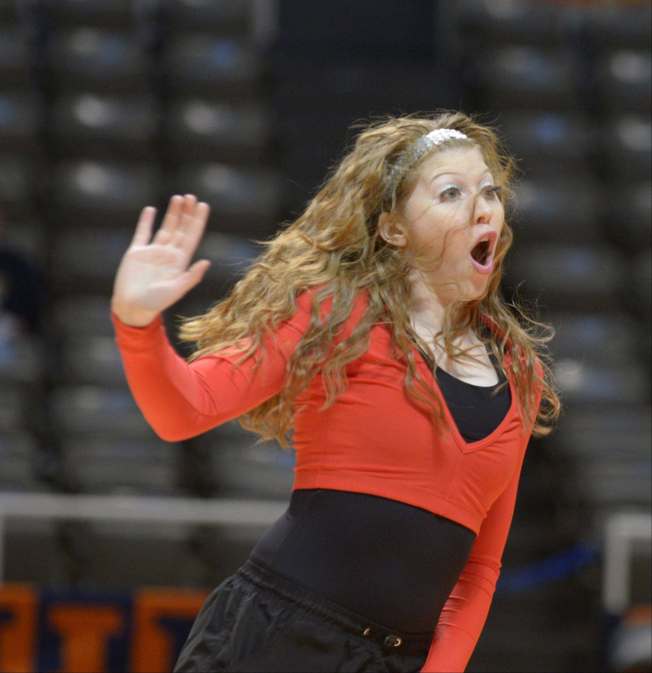 Victoria Parenti of Fenton takes part in the solo rounds at Illinois Drill Team Association State Championships, held at University of Illinois Assembly Hall Saturday.