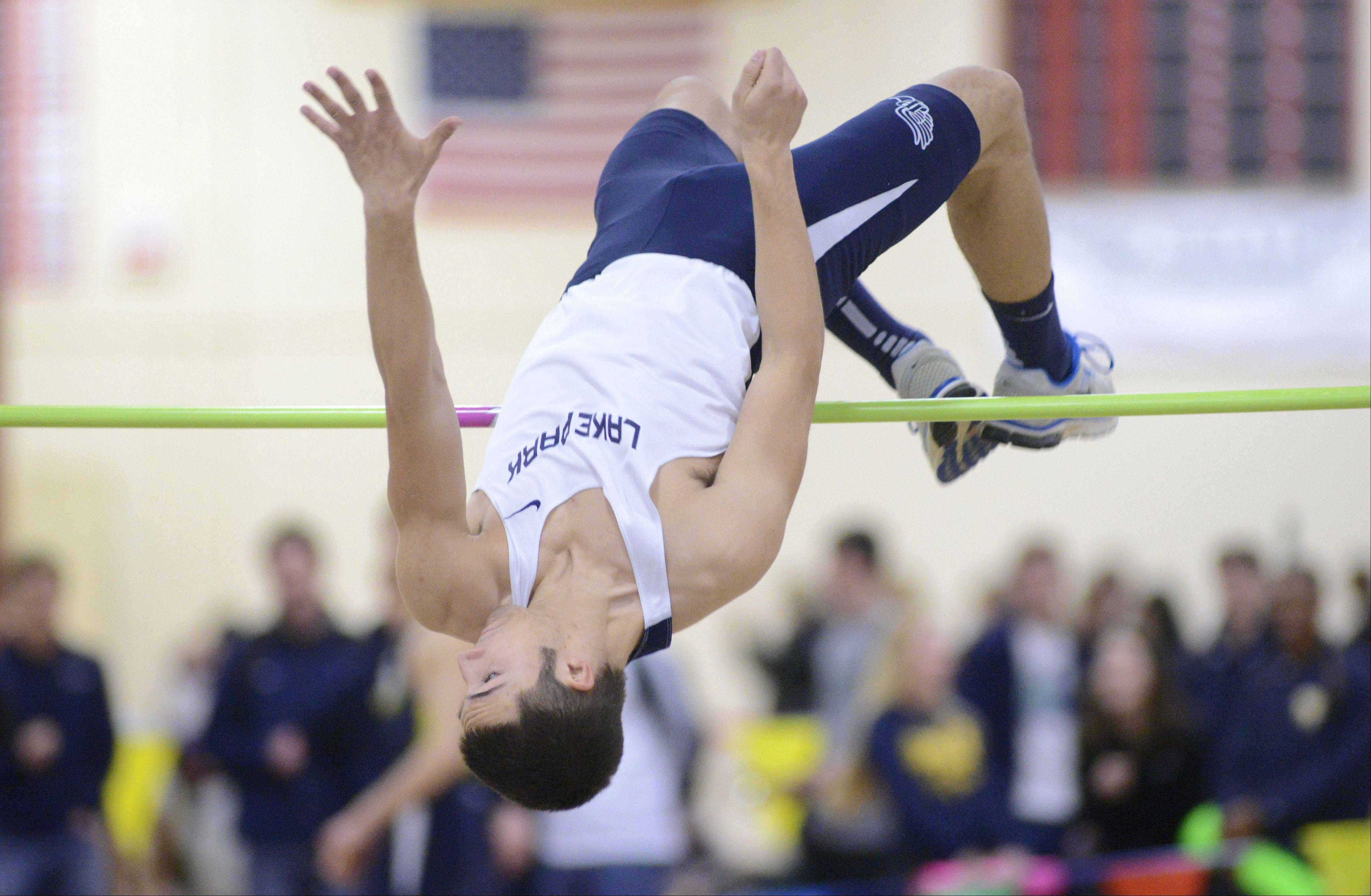 Lake Park's Scott Filip in the high jump finals at the Upstate Eight Conference in Batavia on Saturday, March 16.