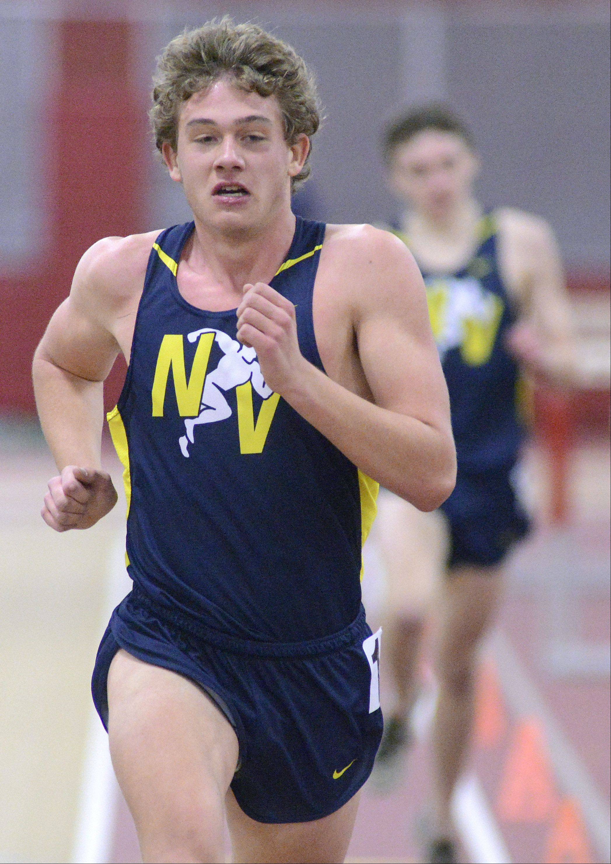 Neuqua Valley's Nick Bushelle wins the 3200 meter run at the Upstate Eight Conference in Batavia on Saturday, March 16.