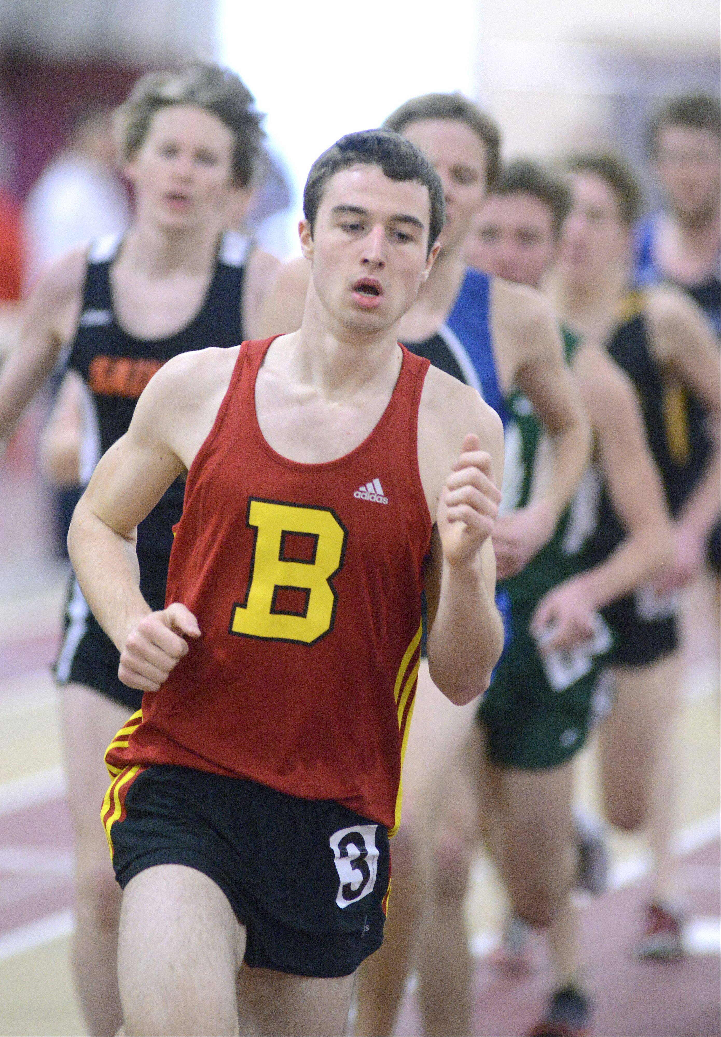 Batavia's Mitch Zabka in the 3200 meter run at the Upstate Eight Conference in Batavia on Saturday, March 16.