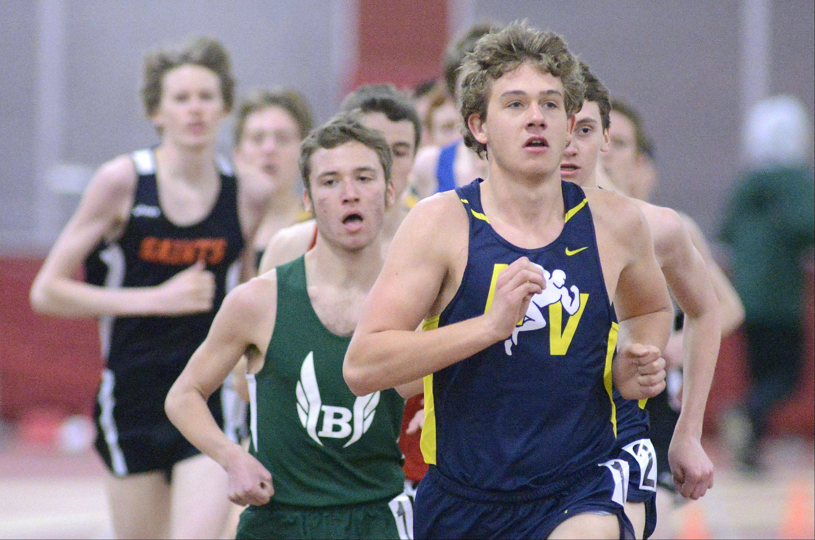 Nequa Valley's Nick Bushelle leads the 3200 meter run for the whole race and takes the win at the Upstate Eight Conference in Batavia on Saturday, March 16.