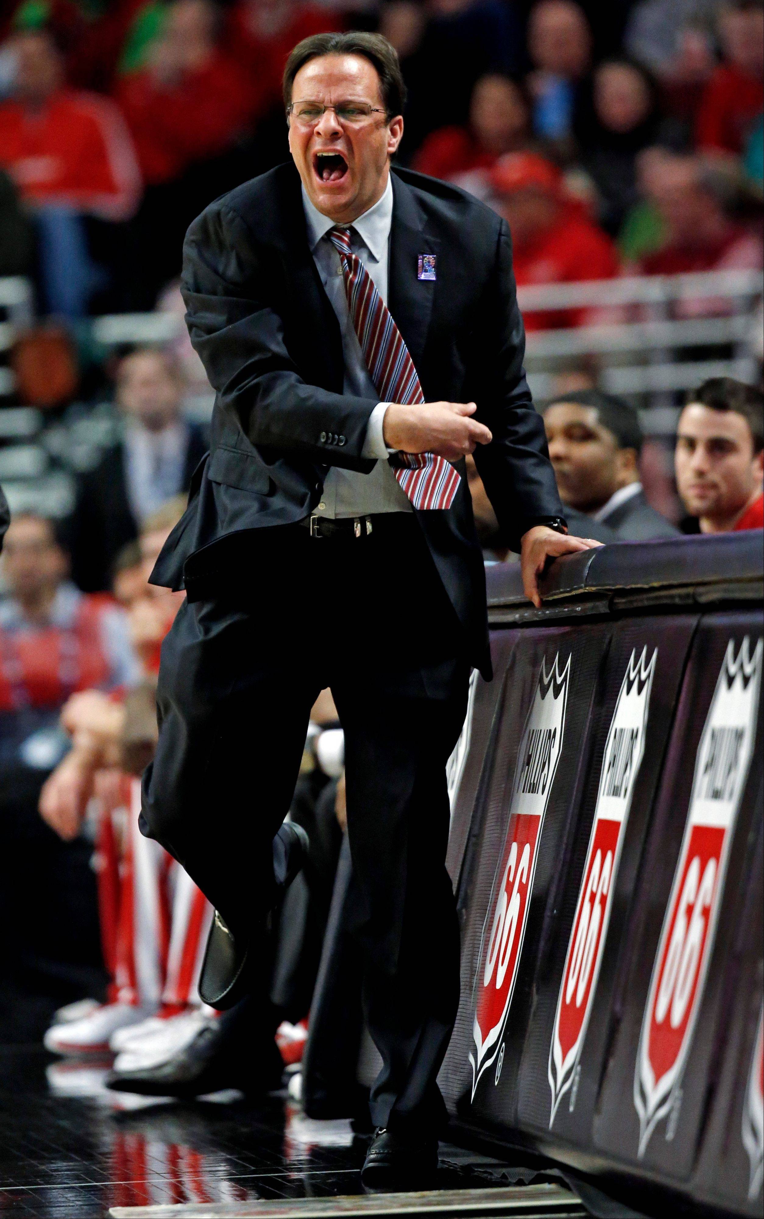 Indiana head coach Tom Crean reacts during the first half of an NCAA college basketball game against Wisconsin at the Big Ten tournament Saturday, March 16, 2013, in Chicago.