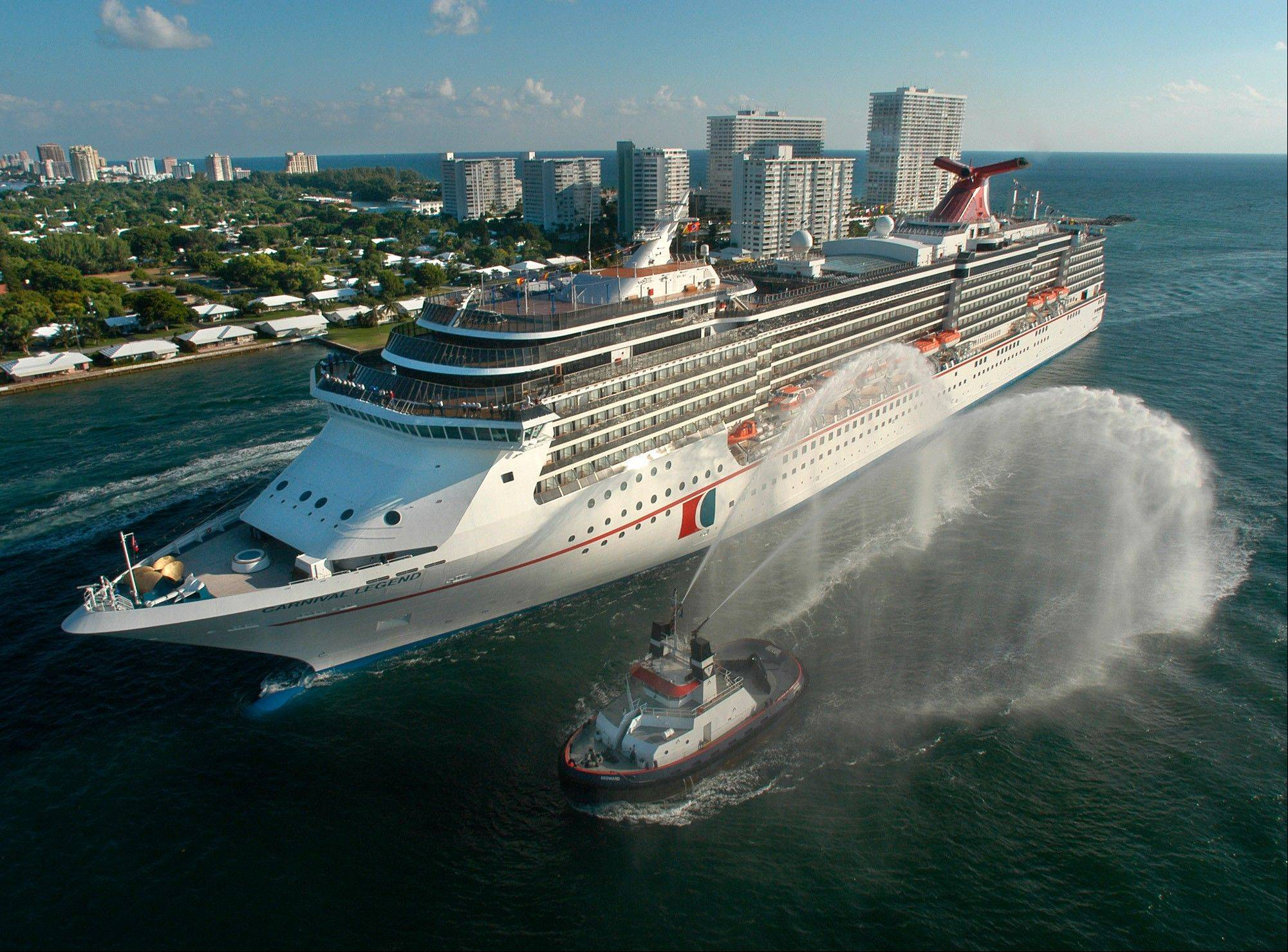 The Carnival Legend, a 2,100-passenger, 960-foot-long cruise ship, is seen here in 2002. Carnival Cruise Lines said on Sunday that the Carnival Legend, which experienced technical issues with its propulsion system and canceled one stop, has arrived as scheduled in Tampa, Fla.