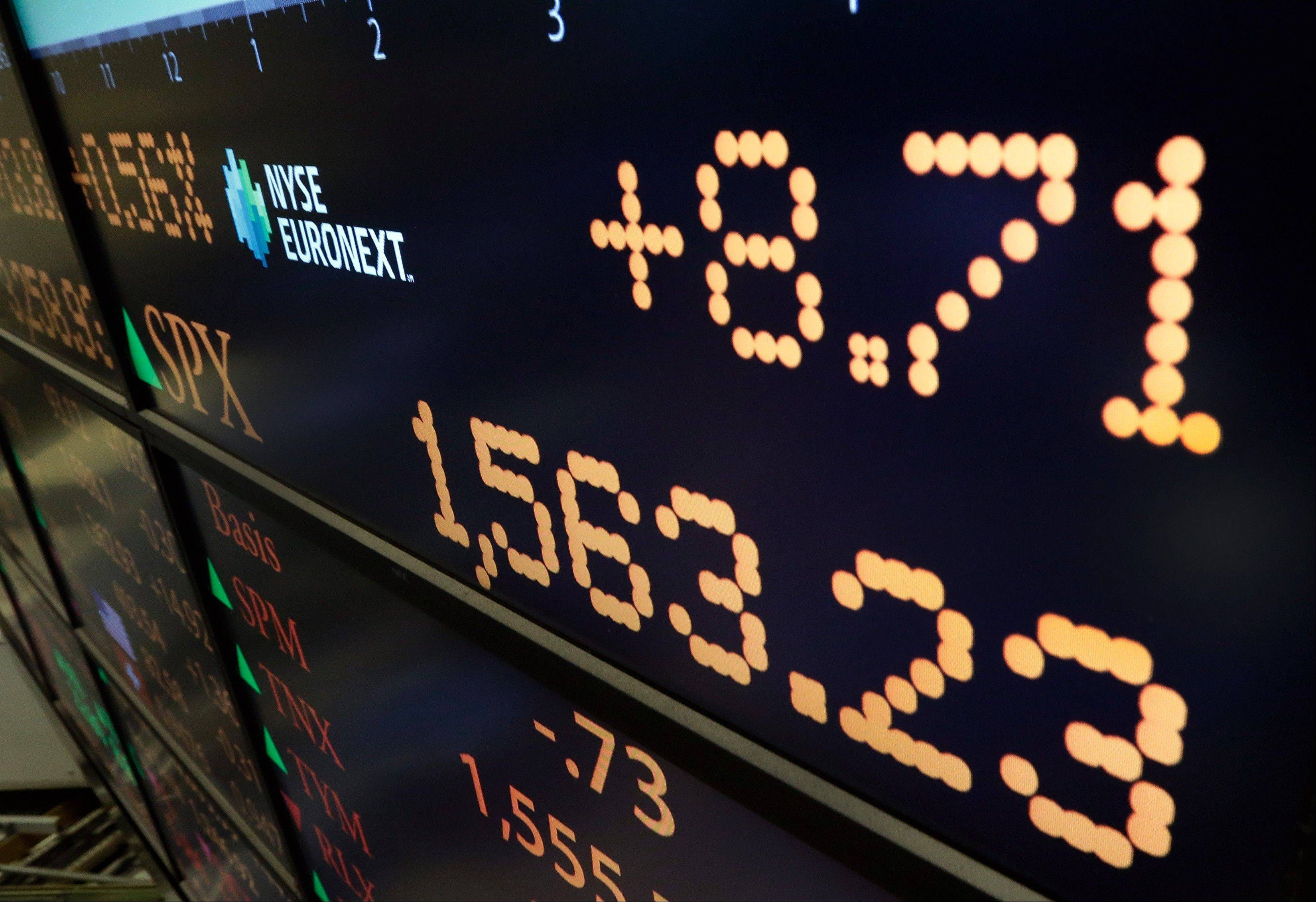 A board on the floor on the floor of the New York Stock Exchange shows the closing number for the S&P 500 index Thursday. The S&P 500 index closed less than two points below its own record high, gaining eight points to close at 1,563, a gain of 0.6 percent.