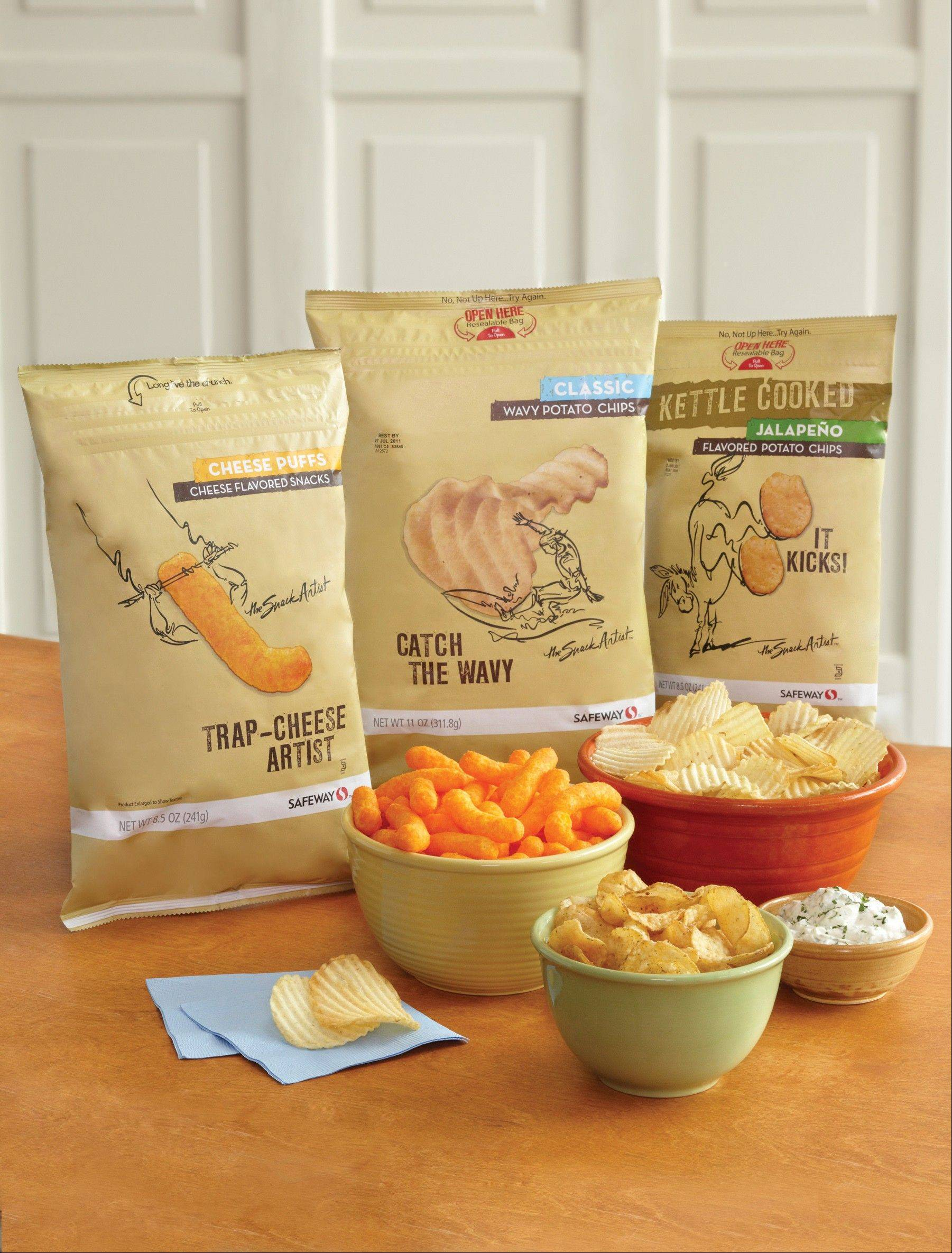 This product image provided by Safeway shows its �Snack Artist� brand of snacks. Supermarkets including Kroger, Safeway and Whole Foods are improving the image of their store brands with better packaging and more distinctive offerings.