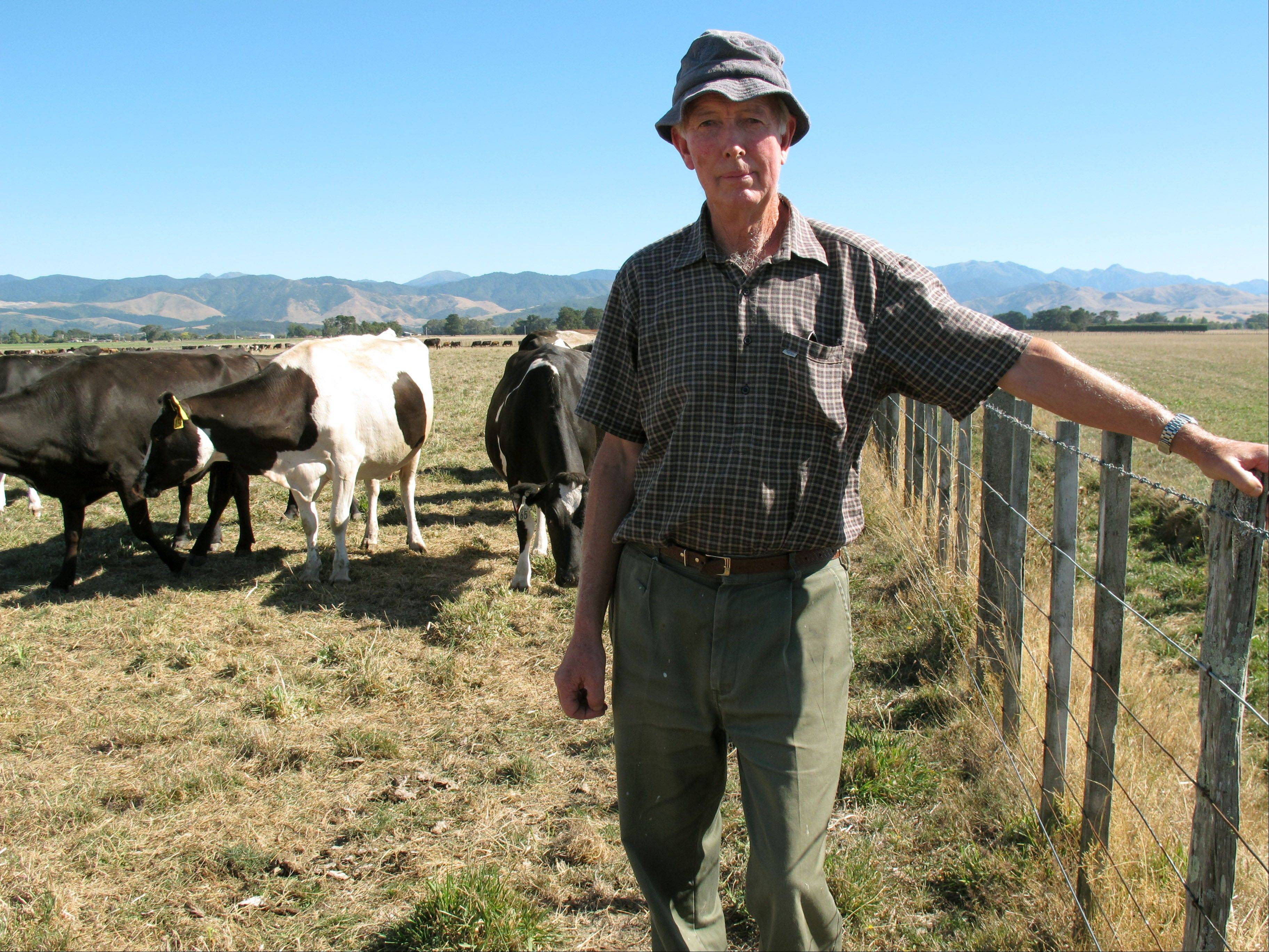 John Rose stands Thursday in a field on his dairy farm near Carterton, New Zealand. A drought in New Zealand's North Island is costing farmers millions of dollars each day and is beginning to take a toll on the country's economy.