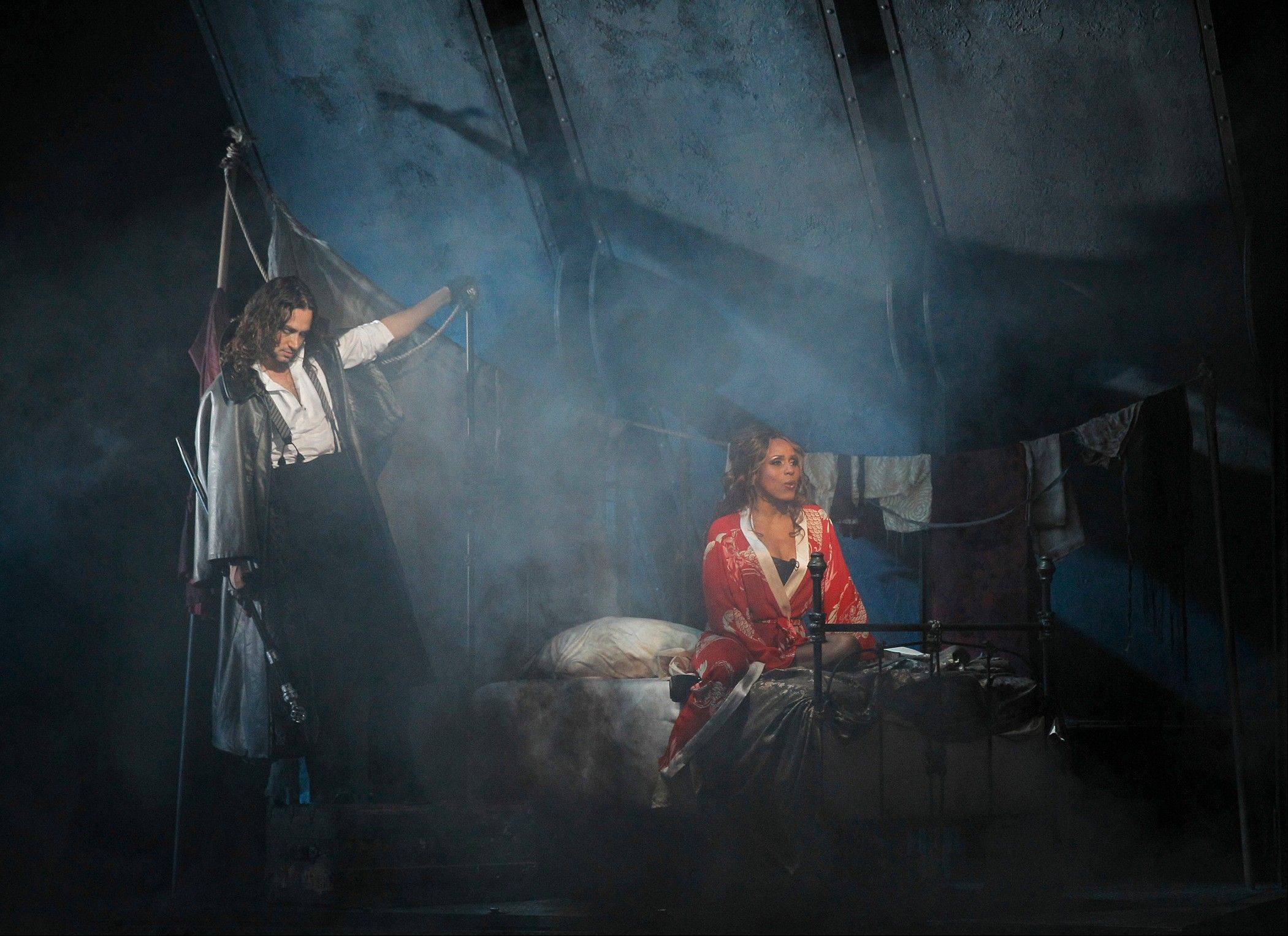 "Violent Edward Hyde (Constantine Maroulis) pays a visit to the prostitute Lucy (Deborah Cox) in the Broadway-bound national tour of the 1997 musical ""Jekyll & Hyde,"" which plays the Cadillac Palace Theatre in Chicago through Sunday, March 24."