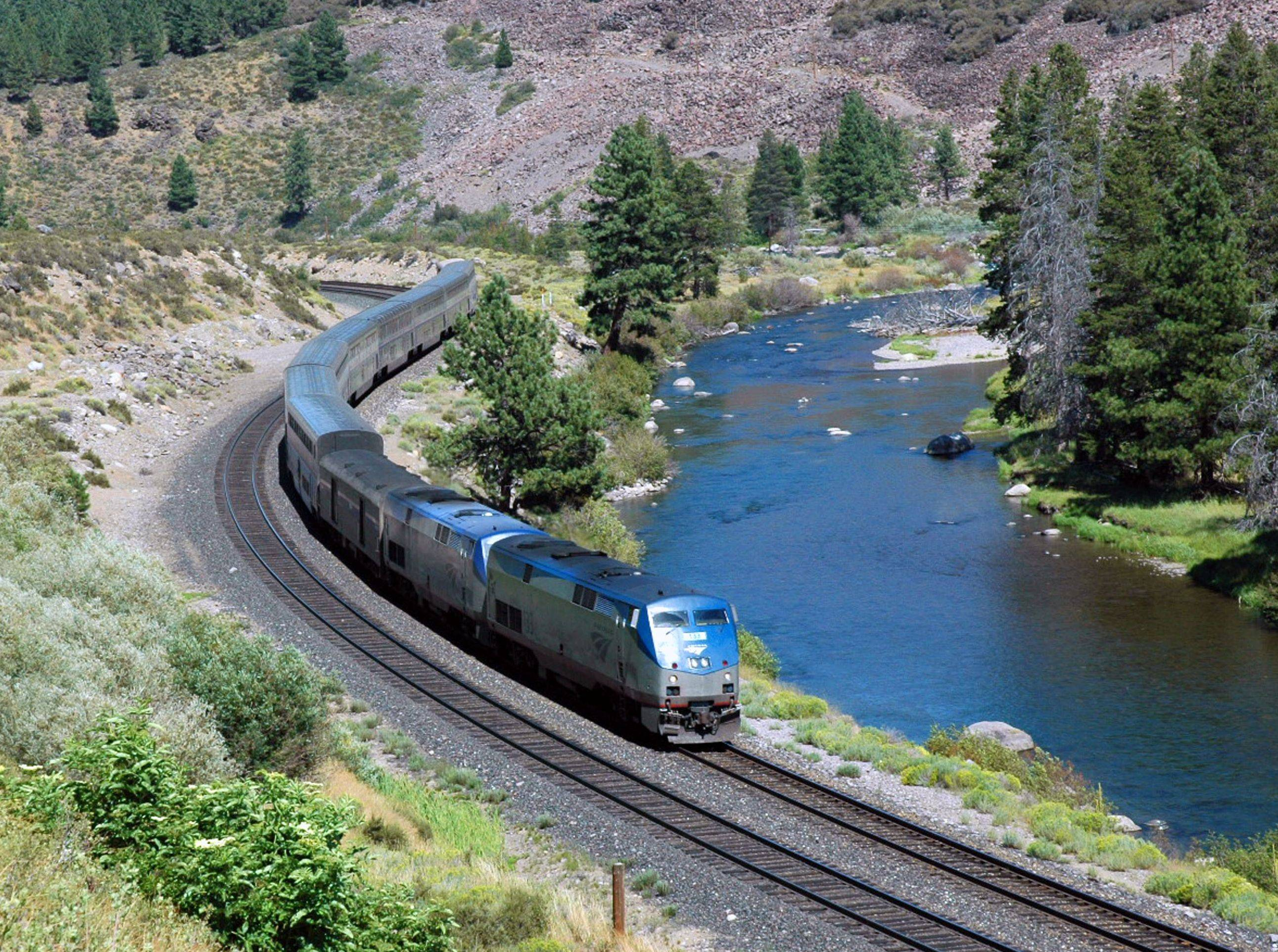 The California Zephyr train near Truckee, Calif. The Zephyr's ultimate destination is Chicago, a 51-hour trip.