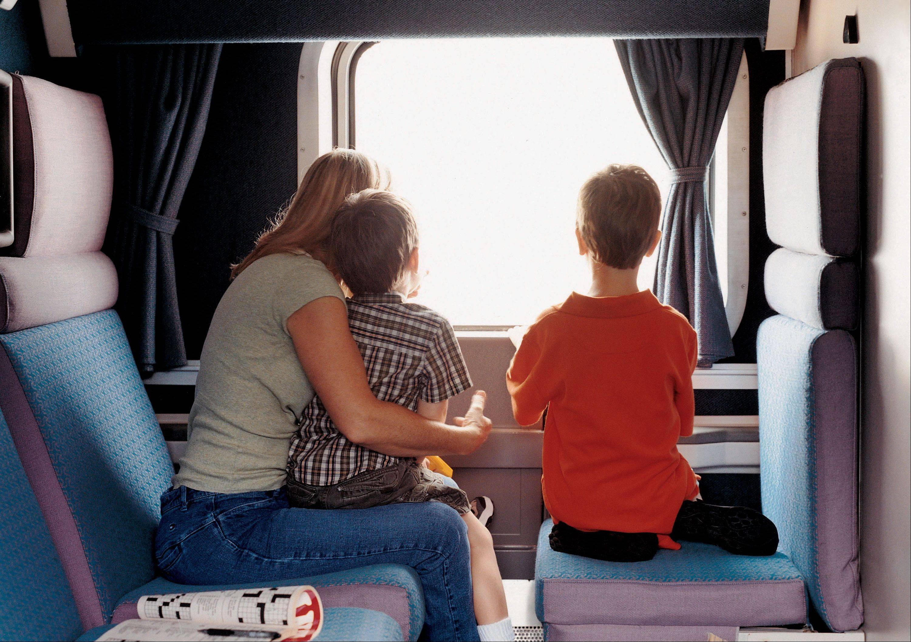 Passengers look out the window on the California Zephyr.