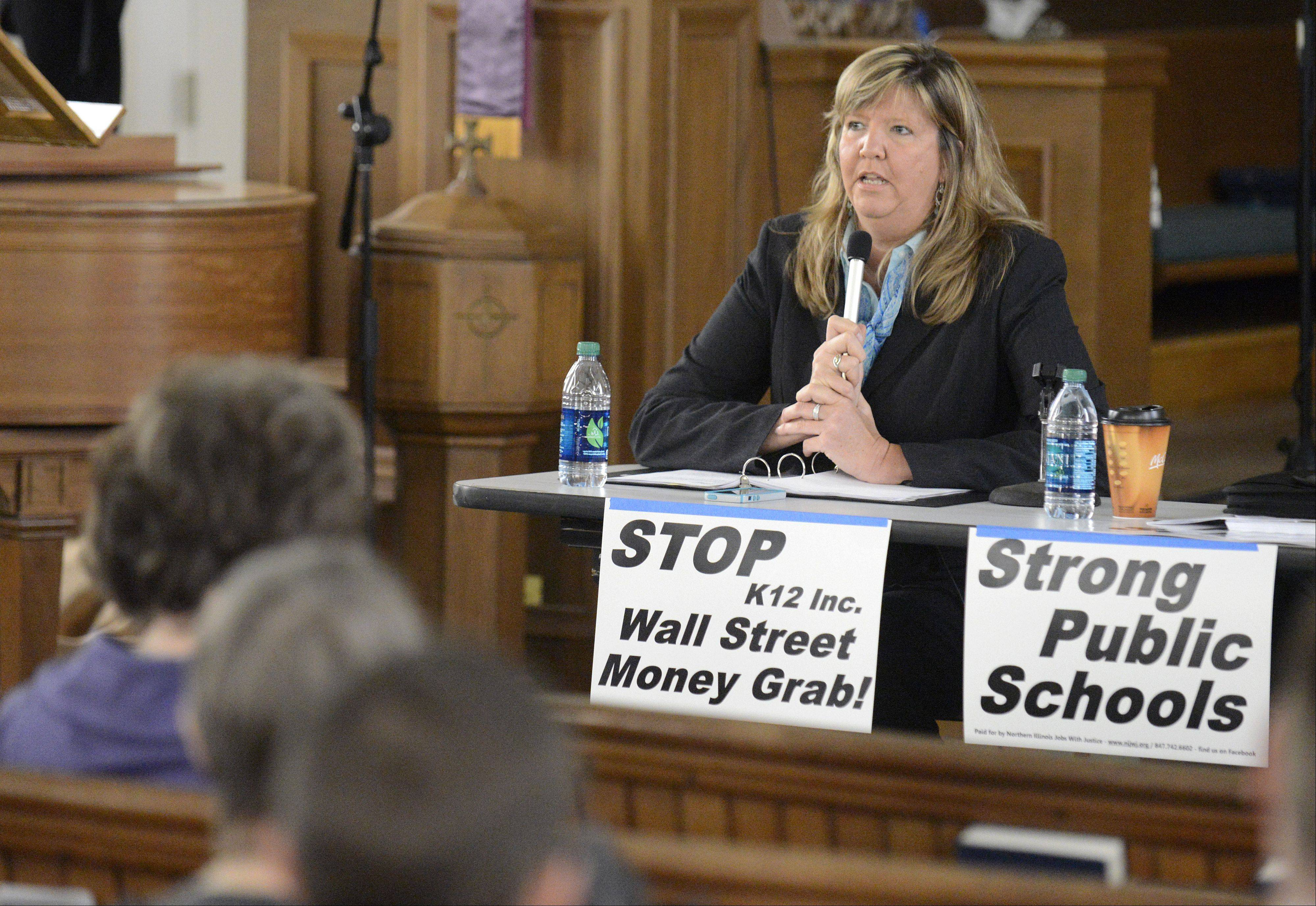Laura Stoecker/lstoecker@dailyherald.comTennessee State Rep. Gloria Johnson talks about how the online education company, K12 Inc. is failing students in her state during an informational meeting hosted by Northern Illinois Jobs With Justice at the First Congregational Church of Geneva Sunday.