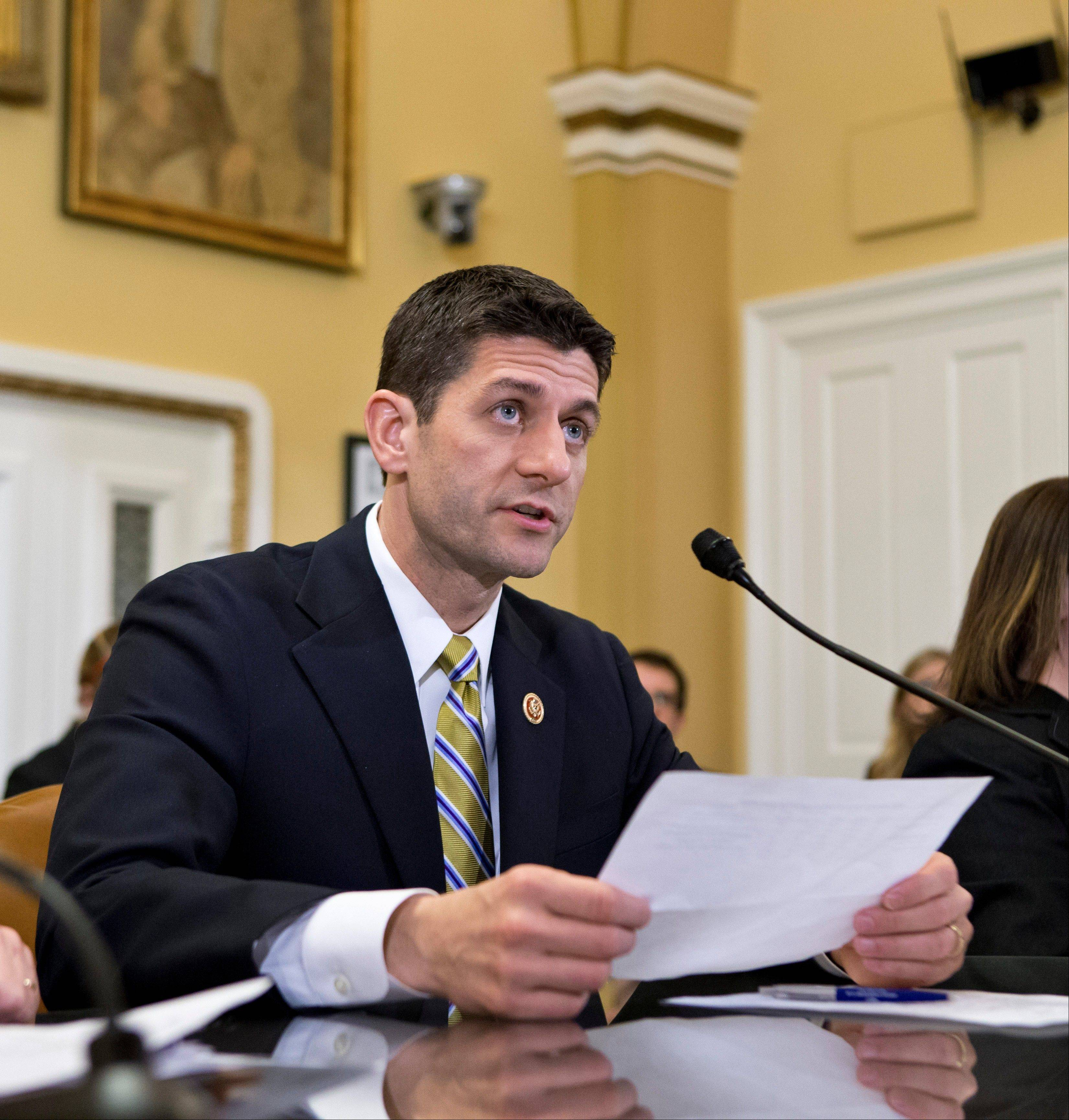 House Budget Committee Chairman Rep. Paul Ryan appears before the House Rules Committee to testify on his party's budget proposal at the Capitol Monday.