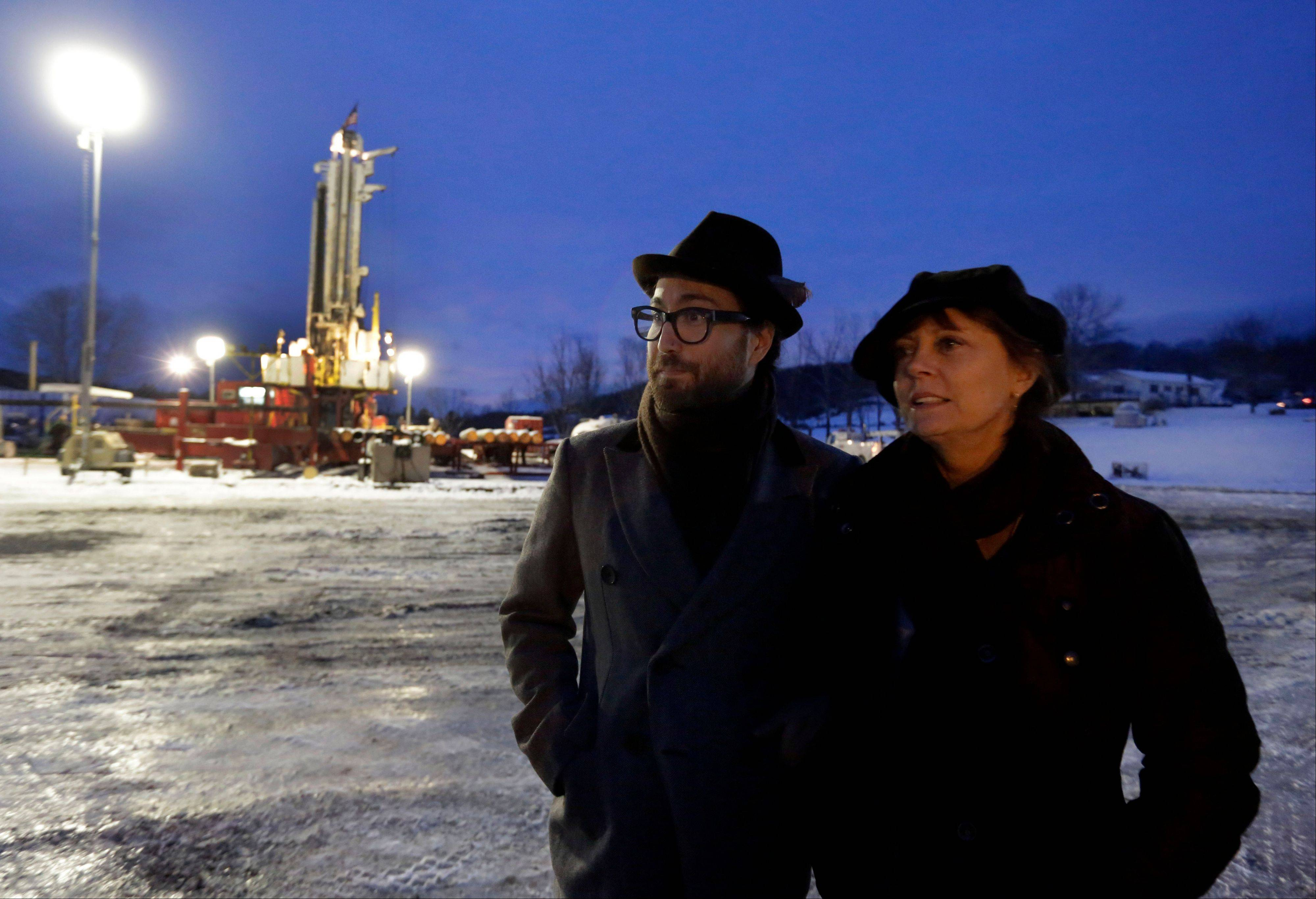 Sean Lennon and actress Susan Sarandon visit to a fracking site in New Milford, Pa., in January 2013.