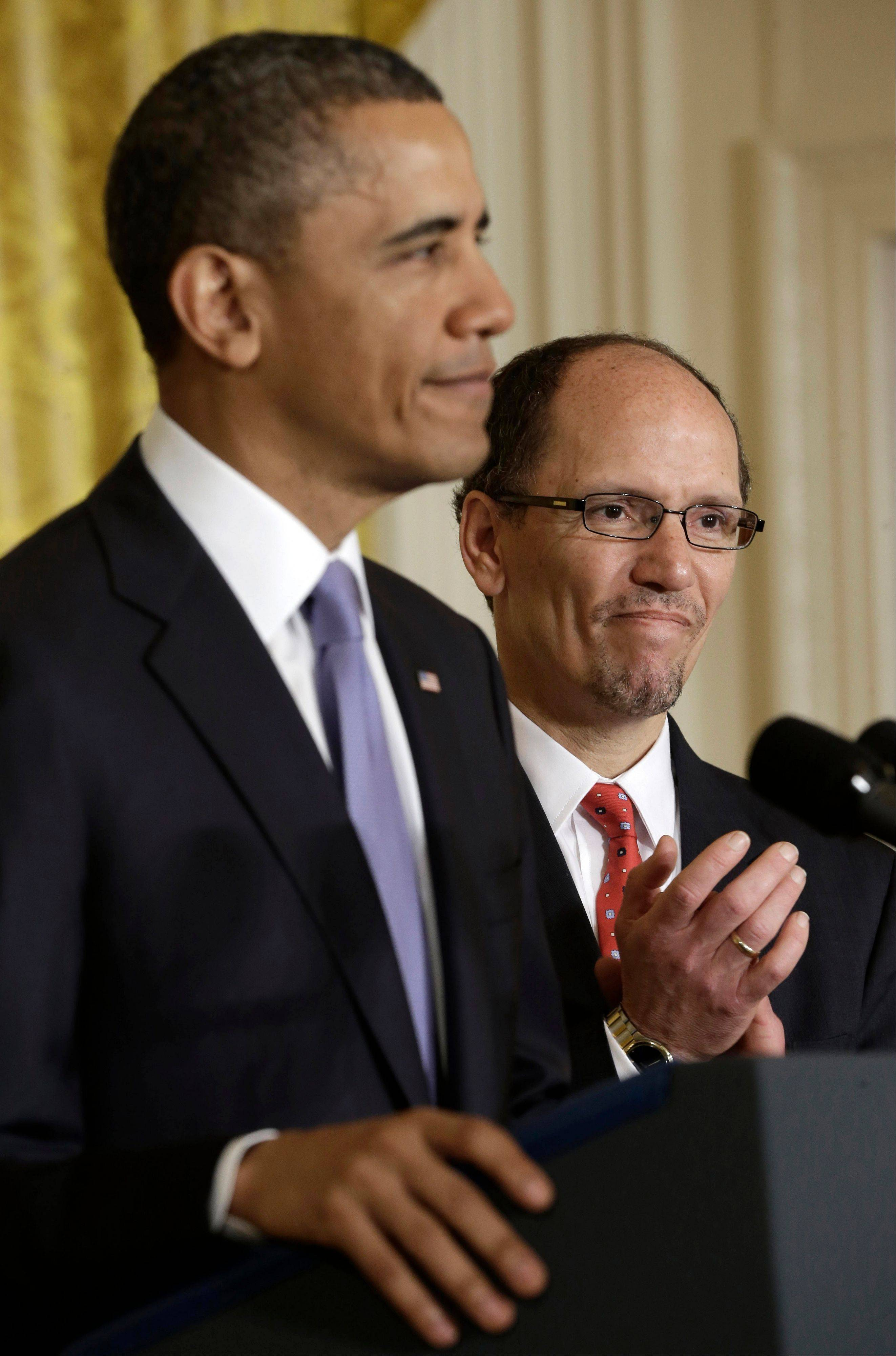 President Barack Obama announces Thomas E. Perez, right, as his nominee for Labor Secretary, Monday at the White House.