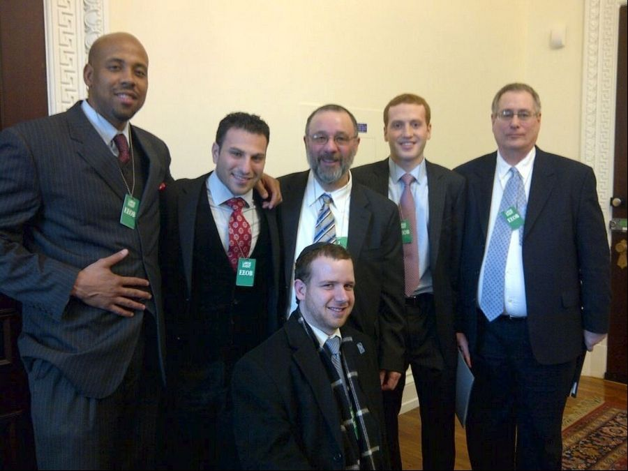 Some members of the Jewish B2B Networking group that traveled to Washington, D.C. for meetings at the White House including, from left, Marc Hilary, Brad Becker, Moshe Klein, Michael Godlin, Gary Frager and Shalom Klein at bottom.