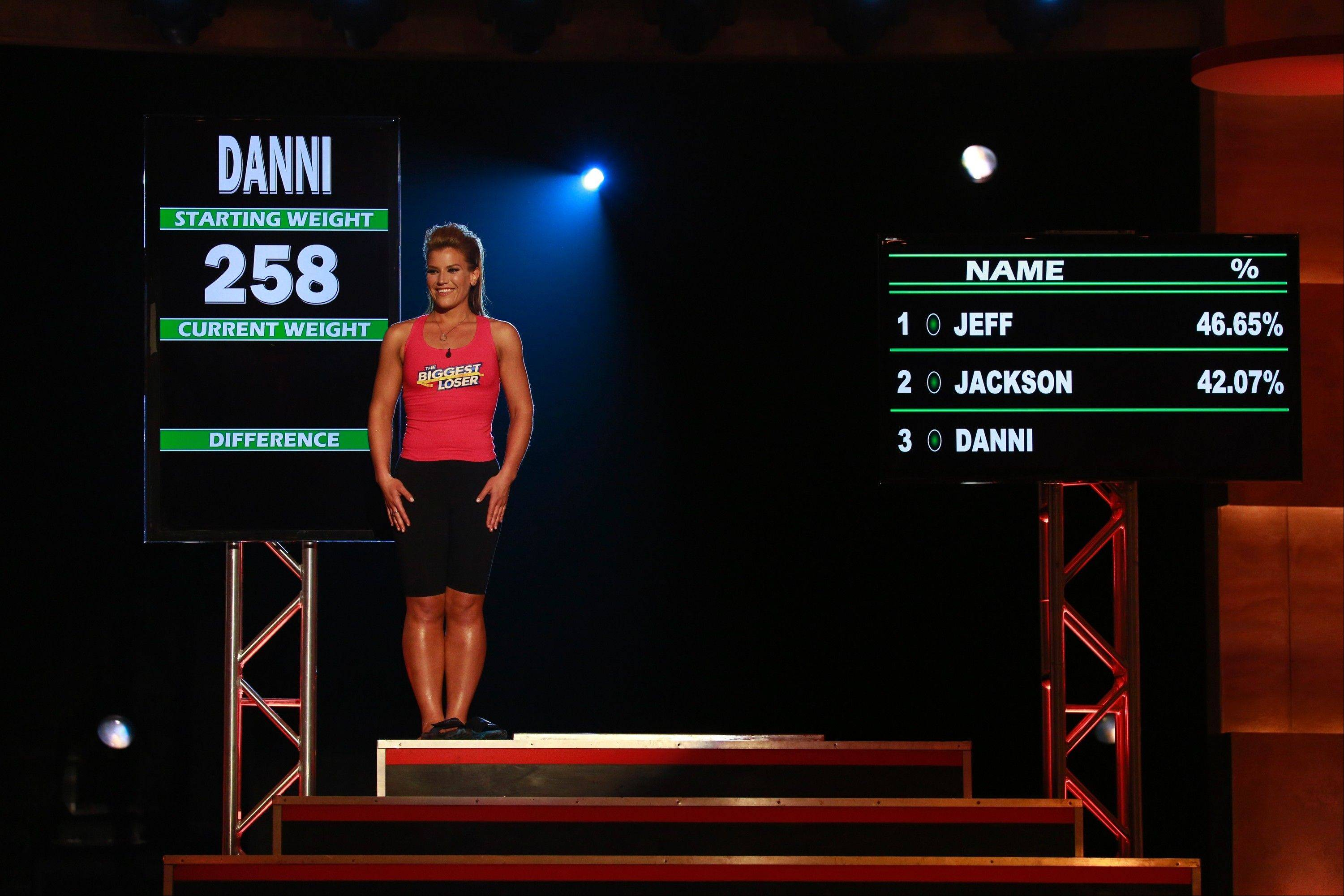 "Danni Allen of Wheeling gets her final weigh-in on ""The Biggest Loser"" Monday night on NBC."