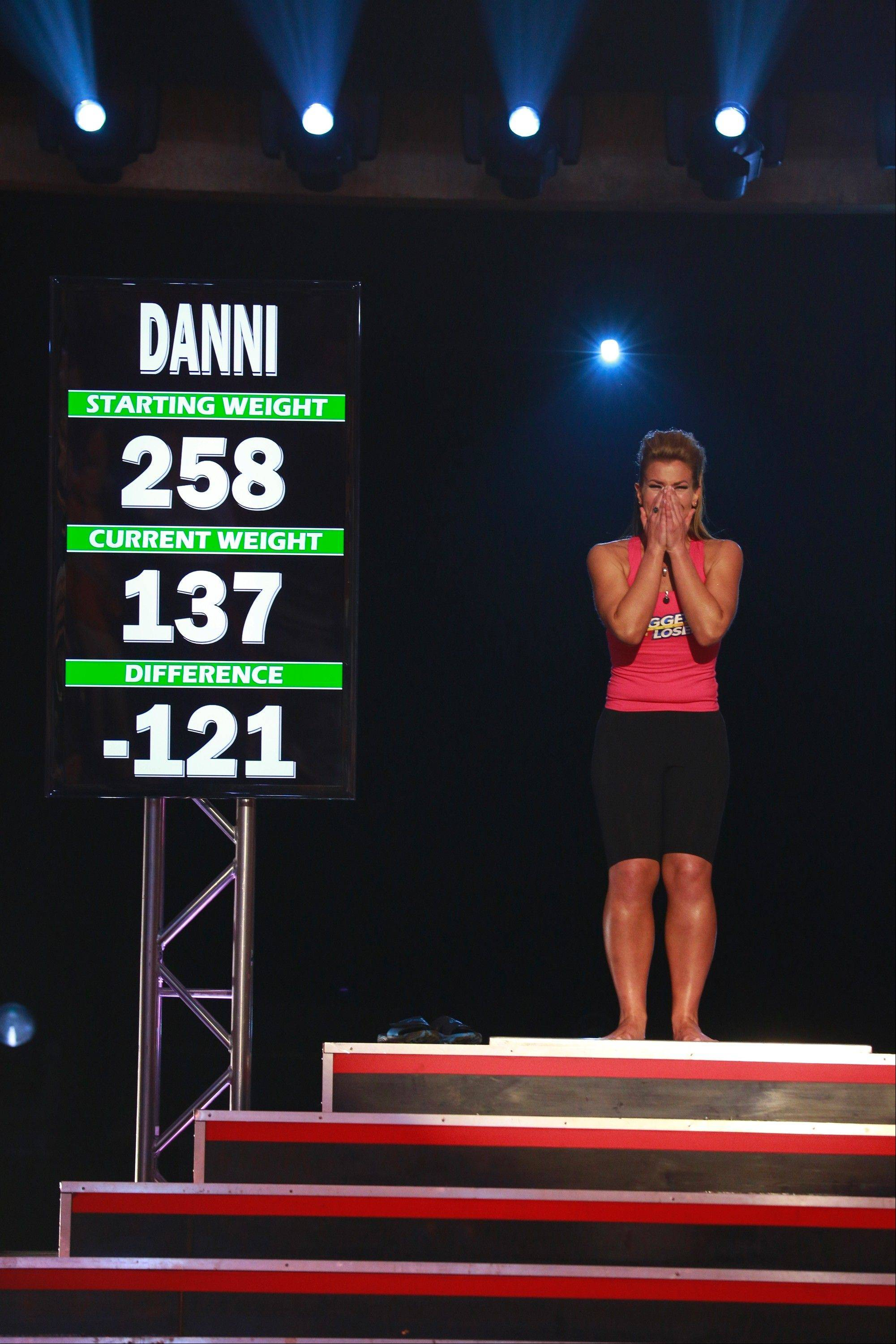 "Danni Allen of Wheeling learns she has just won ""The Biggest Loser"" Monday night on NBC."