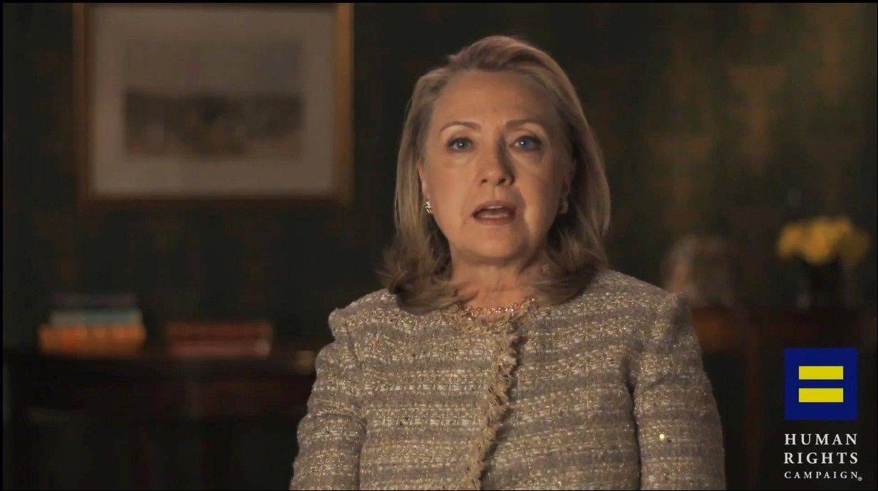 This photo from a video, provided by the Human Rights Campaign, shows former Secretary of State Hillary Rodham Clinton announcing her support for gay marriage, putting her in line with other potential Democratic presidential candidates on a social issue that is rapidly gaining public approval.