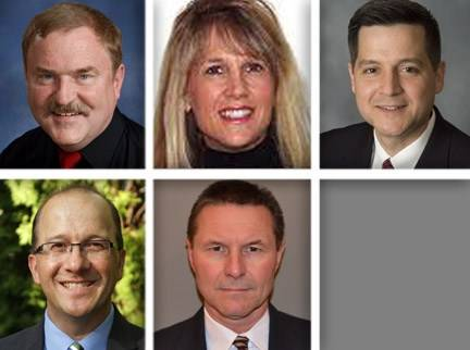 Upper row from left, Philip Crusius, Denise Glasgow, and Richard Olejniczak and, bottom row from left, David Page and Herb Ruterschmidt are candidates for Arlington Heights Elementary School District 25 board in the 2013 election.
