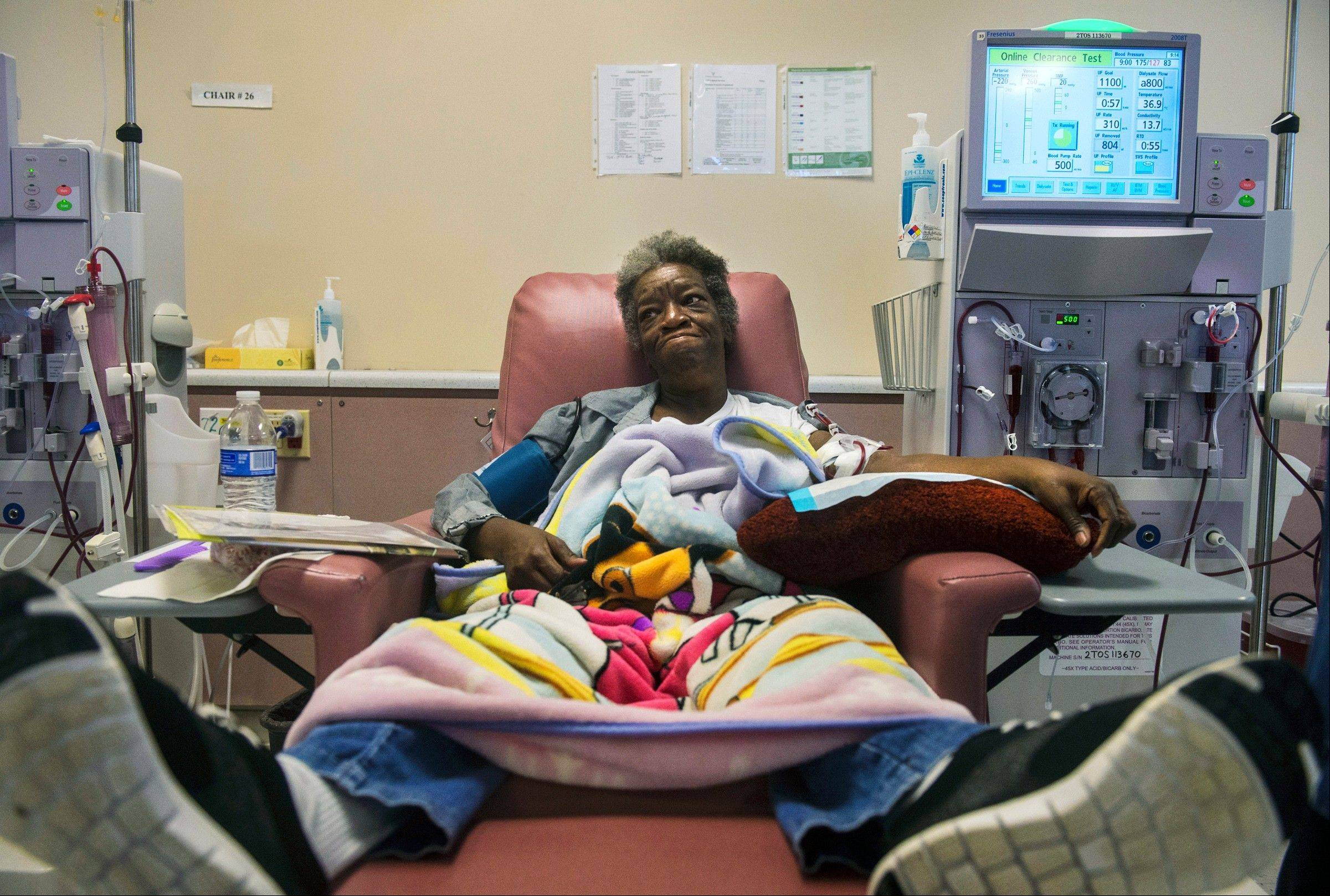 Martina Rutherford receives dialysis treatment at Fresenius Medical Care in Peoria a four-hour process that she must endure three times a week.