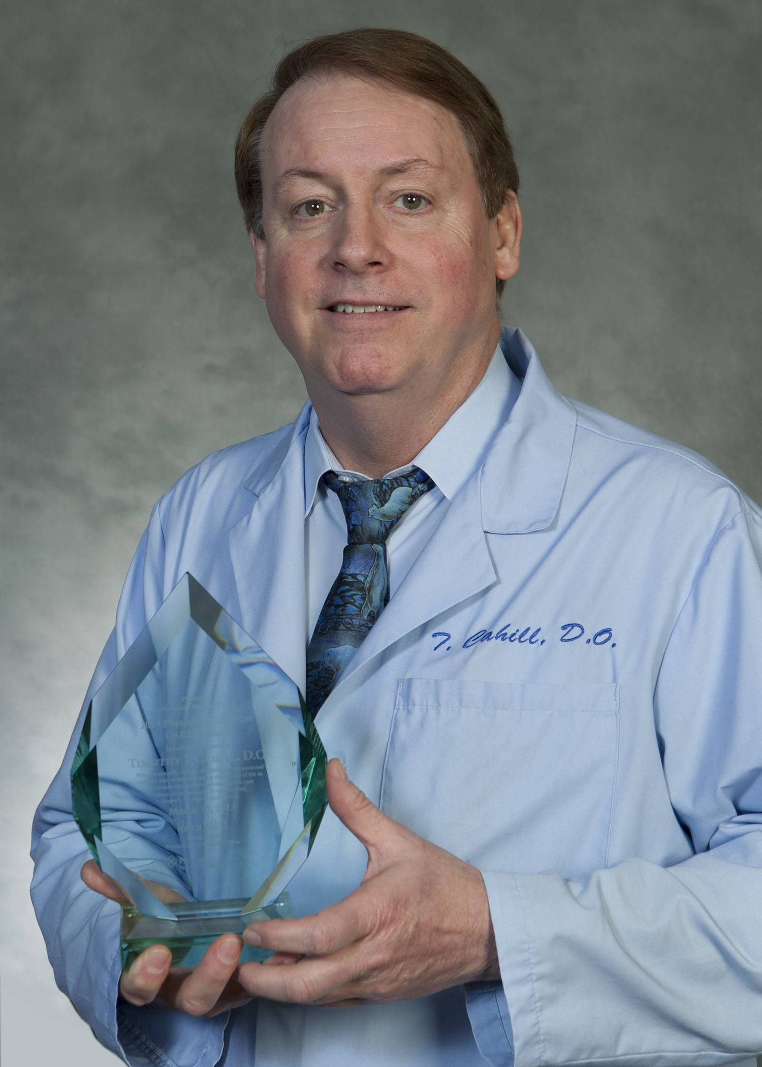 Park Ridge resident Dr. Timothy Cahill, was presented with the annual Physician of the Year CARES Award from Holy Family Medical Center, where he currently serves as Medical Director.