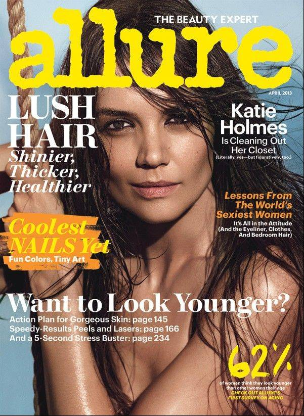 Actress Katie Holmes on the cover of the April 2013 issue of Allure magazine.