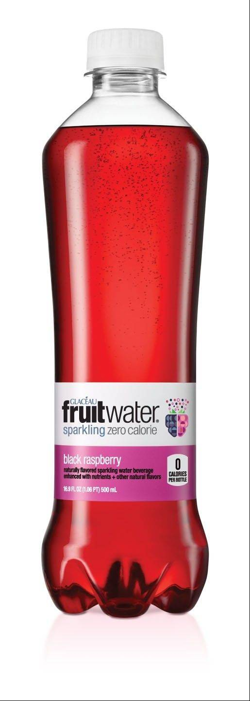 A bottle of black raspberry flavored Fruitwater. Coca-Cola is introducing a line of fruit-flavored seltzer waters called Fruitwater on April 1.