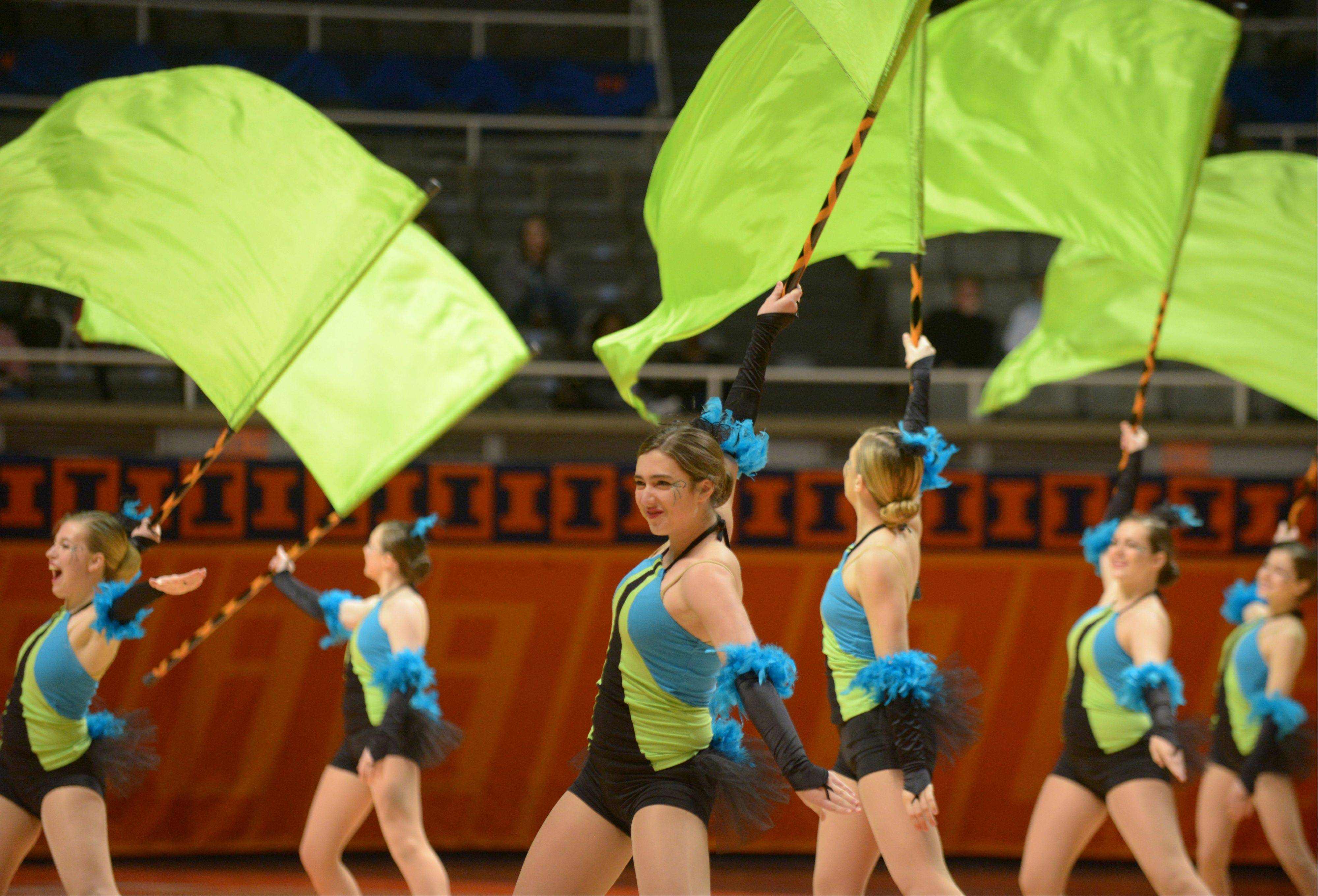 The Lake Zurich High School team, in their first-place Tall Flags routine.