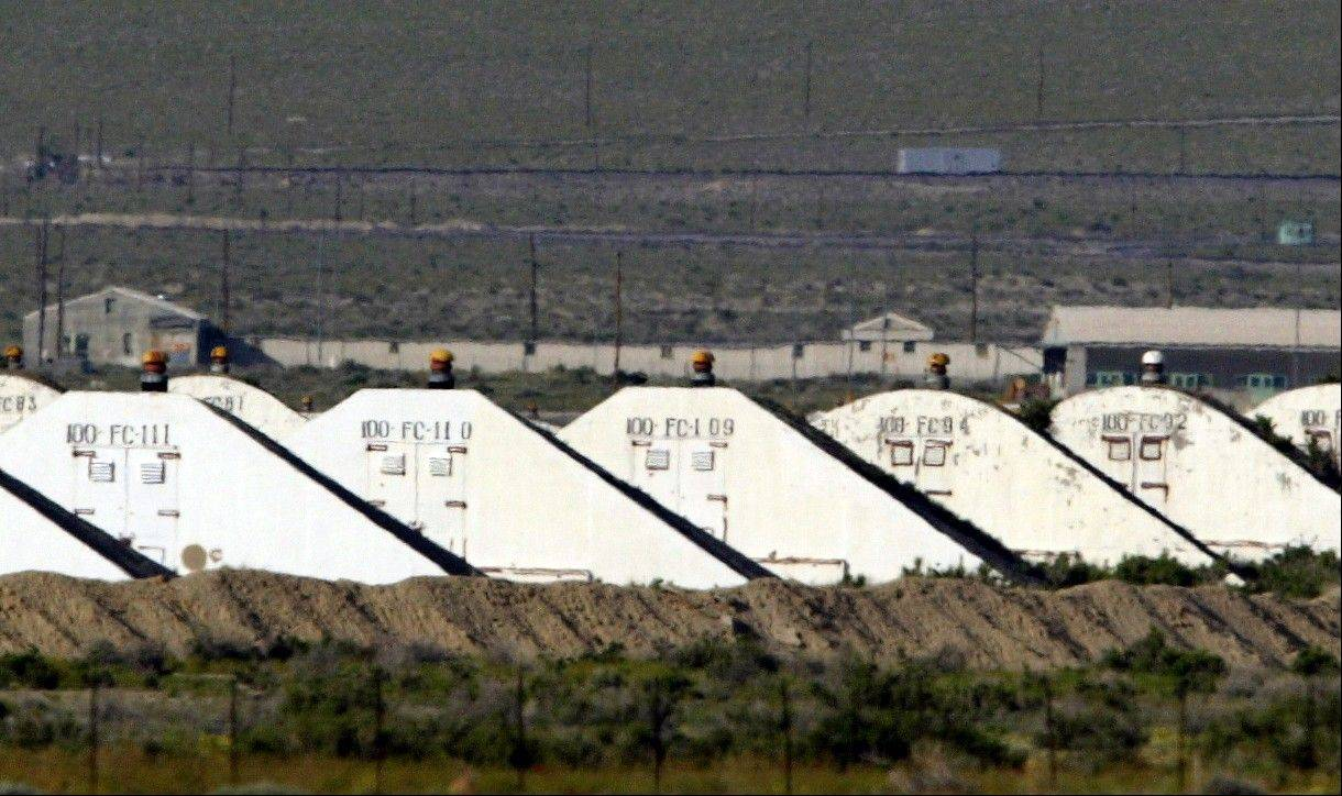 This May 20, 2005, photo shows storage bunkers at the U.S. Army Depot in Hawthorne, Nev. Seven Marines from a North Carolina unit were killed and several injured in a training accident at the Hawthorne Army Depot.