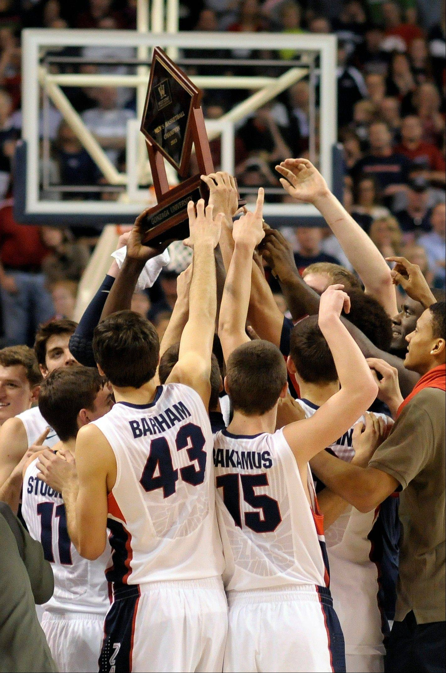 Gonzaga, who celebrated after winning the West Coast Conference Championship against Portland on March 2, earned a No. 1 seed in the NCAA men's basketball tournament.