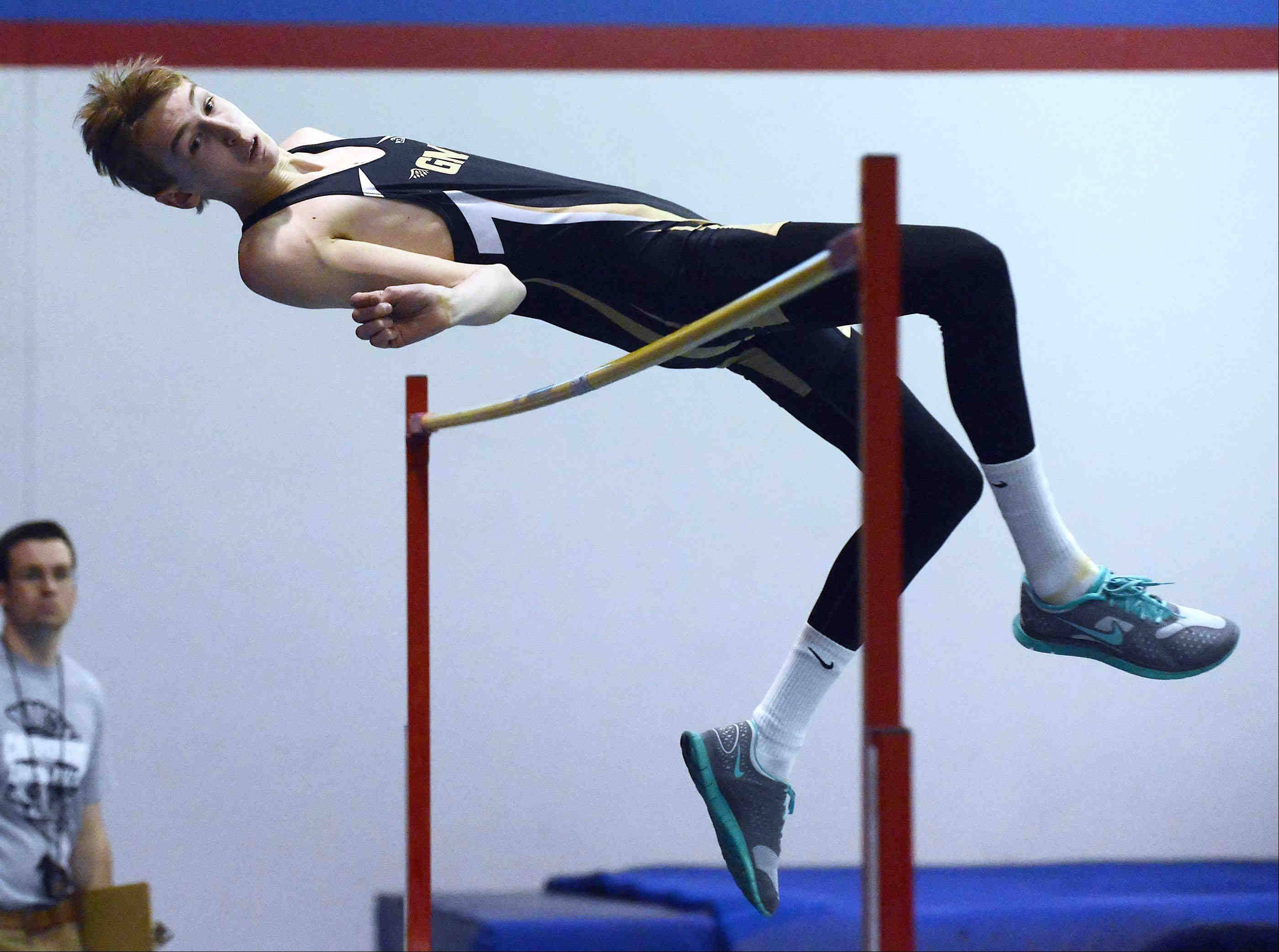 Grayslake North's Dylan Toole wins the high jump event and sets a school record Wednesday at the Dundee-Crown Indoor Track Invitational in Carpentersville.