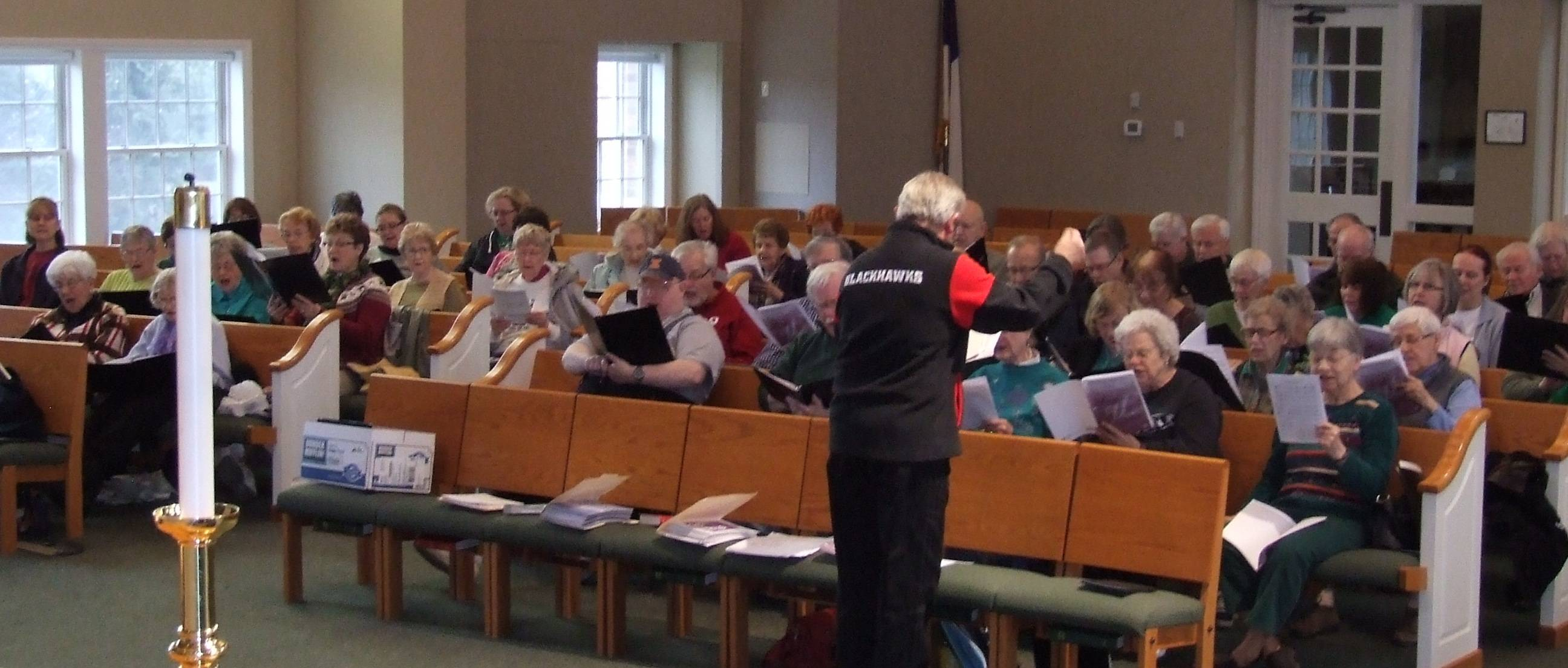80 voice interfaith chorus from area churches prepares for annual Palm Sunday Concert.