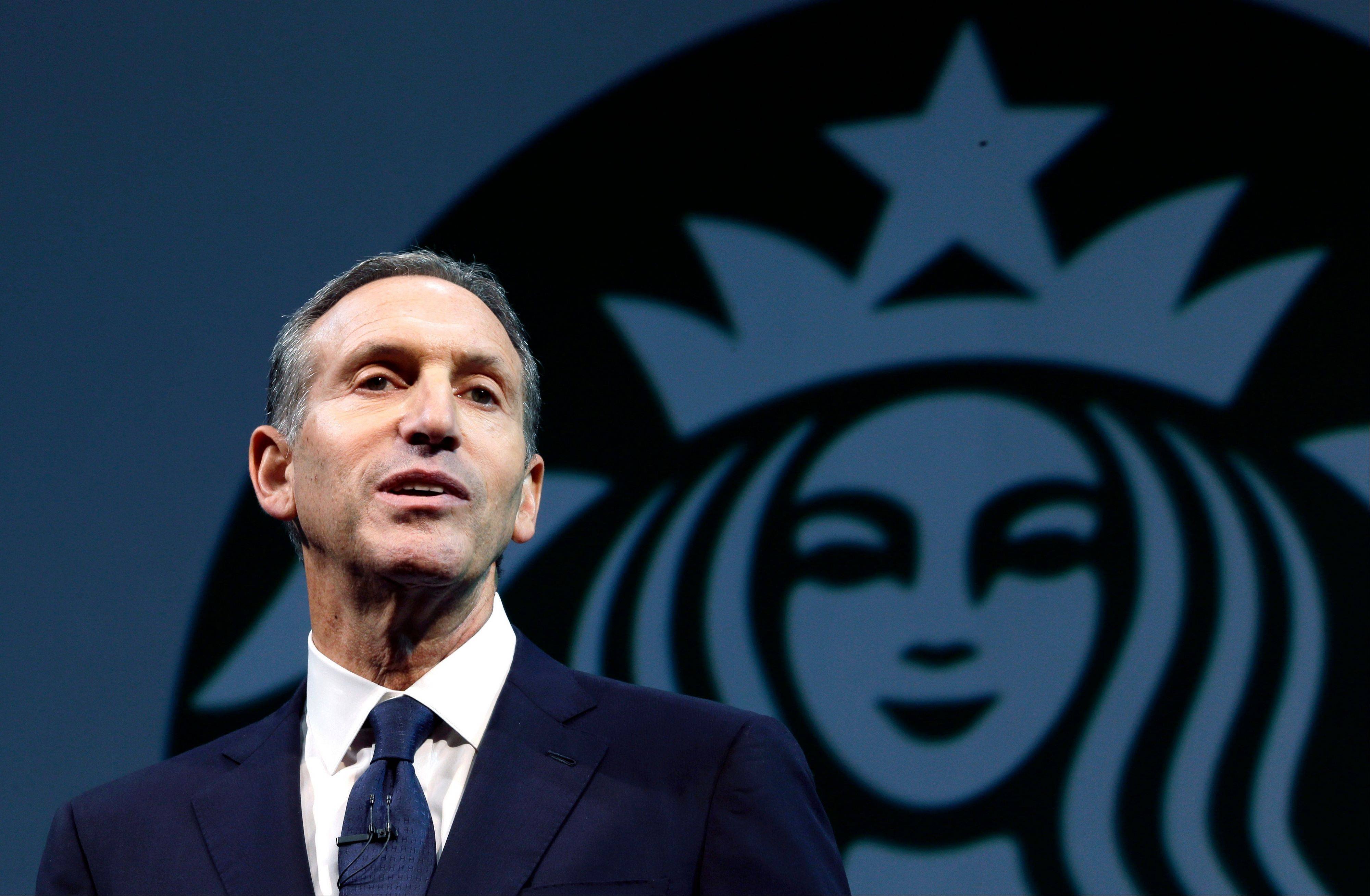 Starbucks CEO Howard Schultz speaks at the company�s annual shareholders meeting Wednesday in Seattle, Wash.