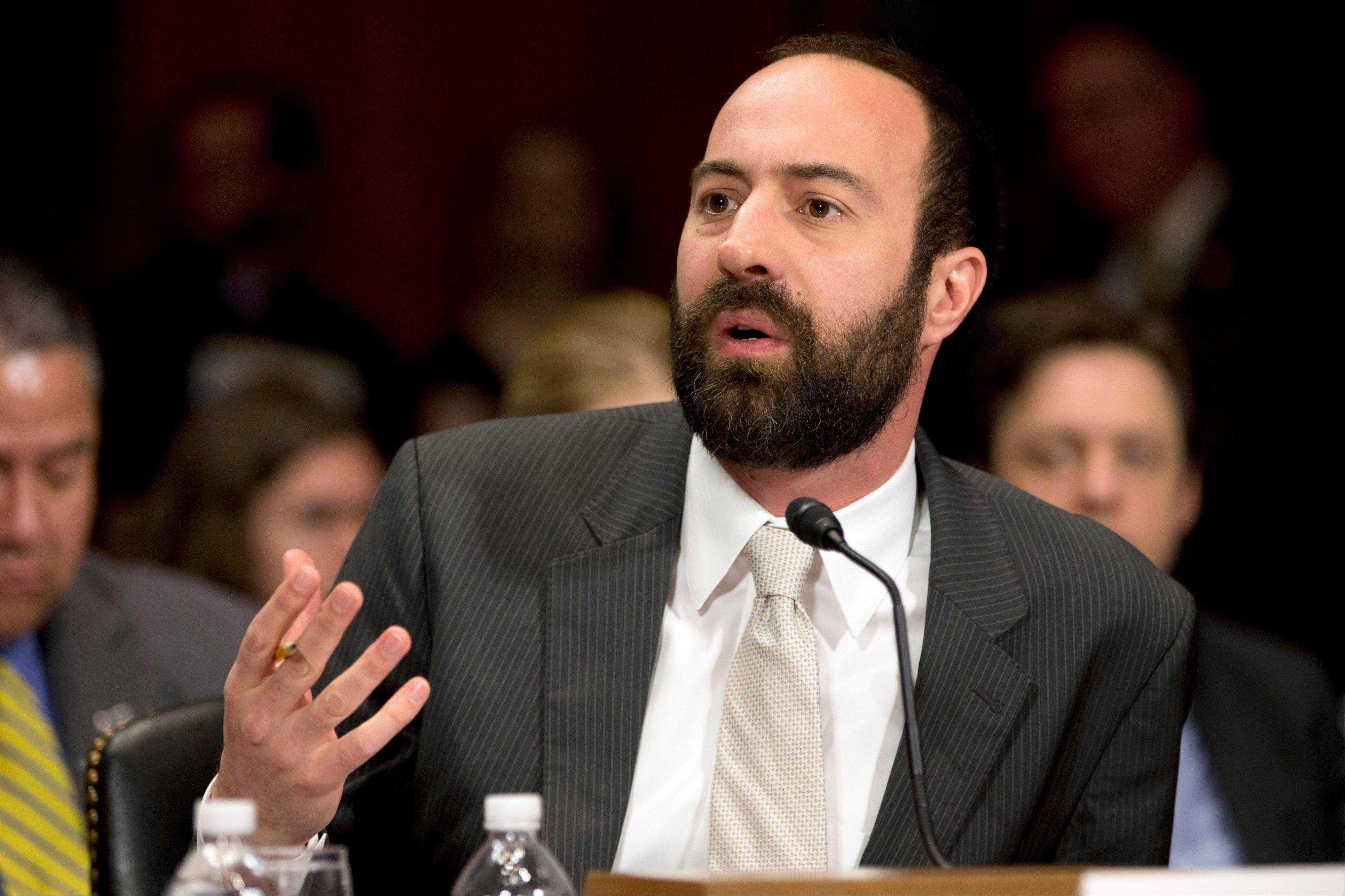 Ryan Calo, assistant professor at the University of Washington School of Law, testifies on Capitol Hill before the Senate Judiciary Committee hearing to examine the future of drones in America, focusing on law enforcement and privacy considerations.