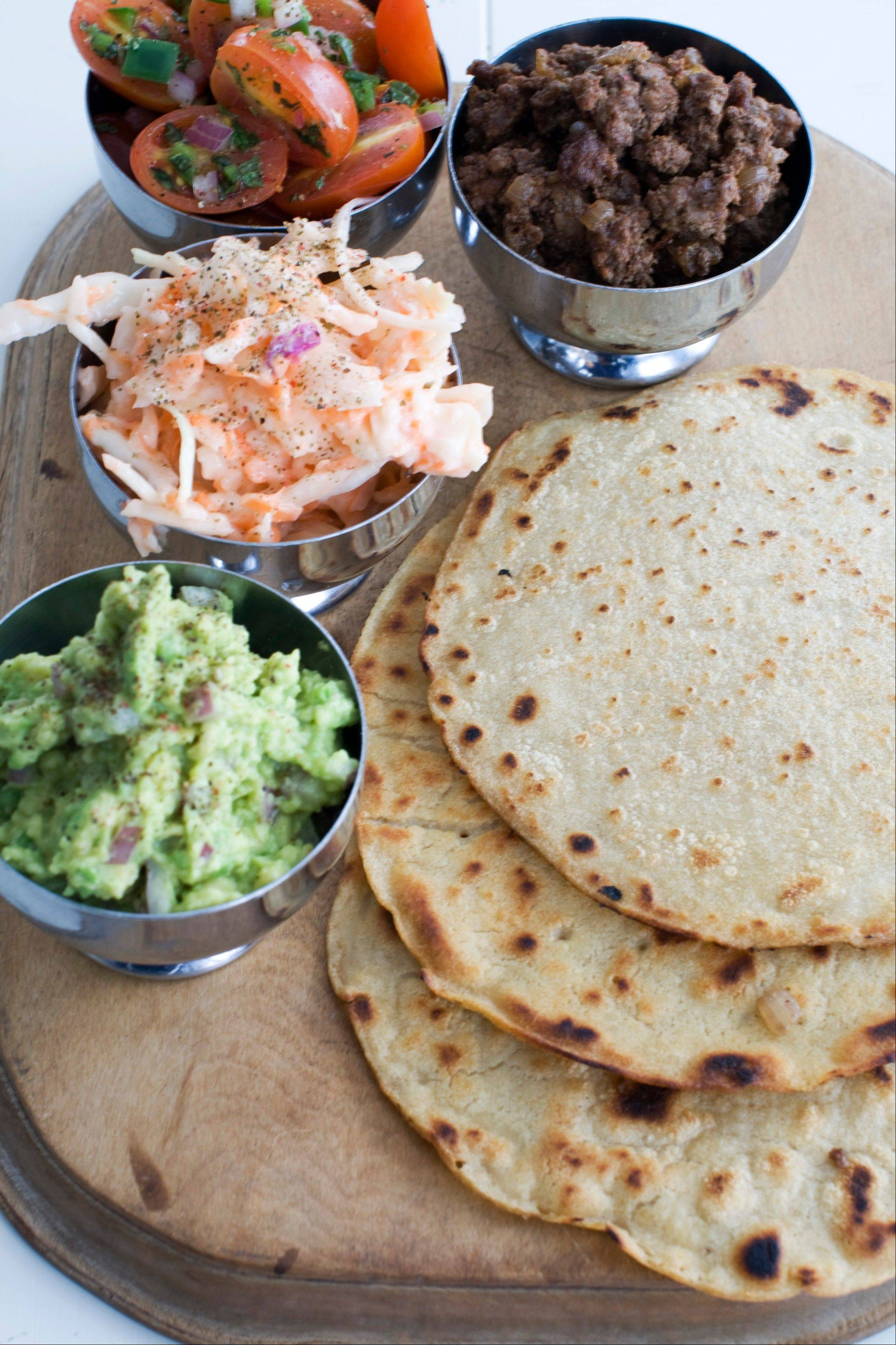 Tortillas made from matzo cake meal serve as the base for a trio of vibrant fillings and toppings.