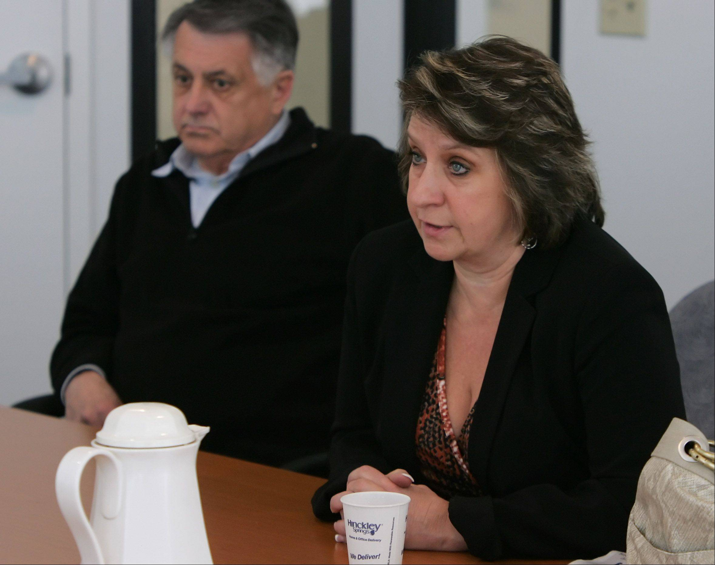 Incumbent Debbie Herrmann and challenger Charles Amrich discuss the issues in the village's mayoral race during the Daily Herald's candidate endorsement interview on Tuesday.