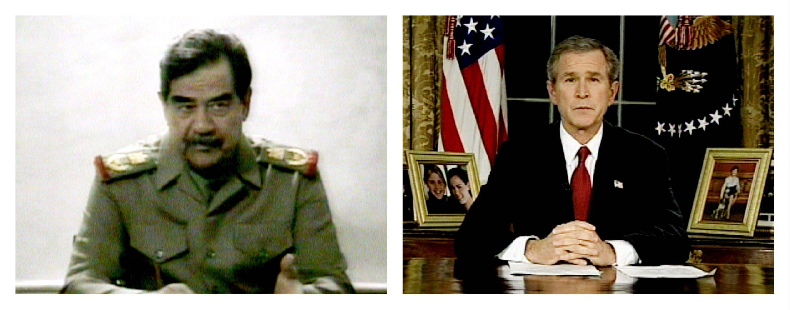 FILE - This combination of video images shows Saddam Hussein, left, on Iraqi television on Thursday, March 20, 2003 and President Bush addressing the nation from the Oval Office at the White House on Wednesday, March 19, 2003.