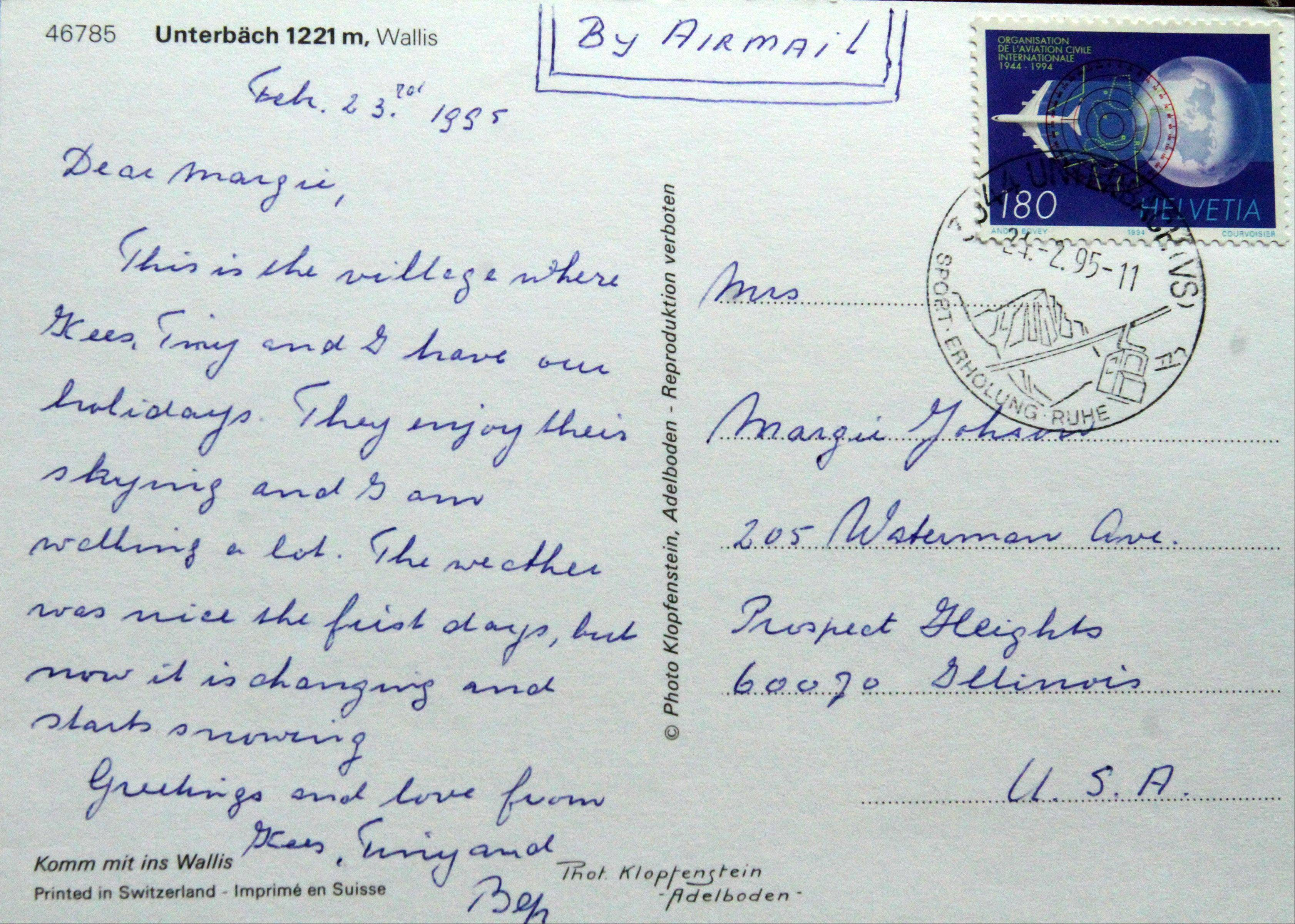This is a postcard Marge Johnson of Prospect Heights received from pen pal Bep Timmermans.