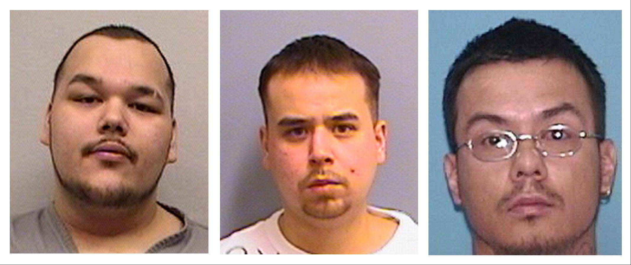From left, Arthur Francis Cree, William Earl Morris, and Wakinyon Wakan McArthur. The three alleged members of a violent American Indian gang known for terrorizing people in the Upper Midwest were convicted Tuesday in what authorities called one of the largest gang cases to come out of Indian Country.