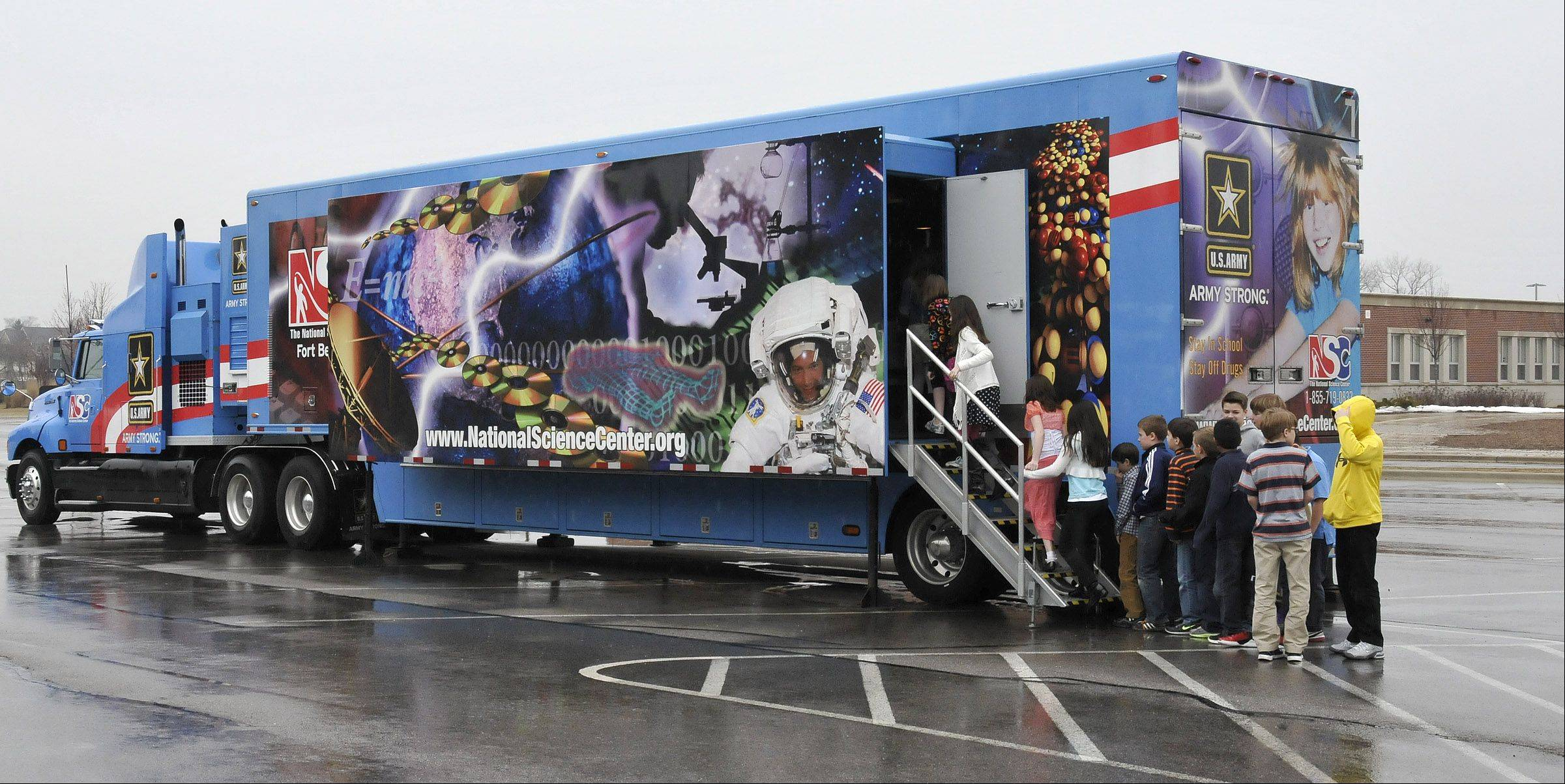 The Mobile Discovery Center, which travels around in an 18-wheeler, recently visited Wheaton Christian Grammar School in Wheaton.