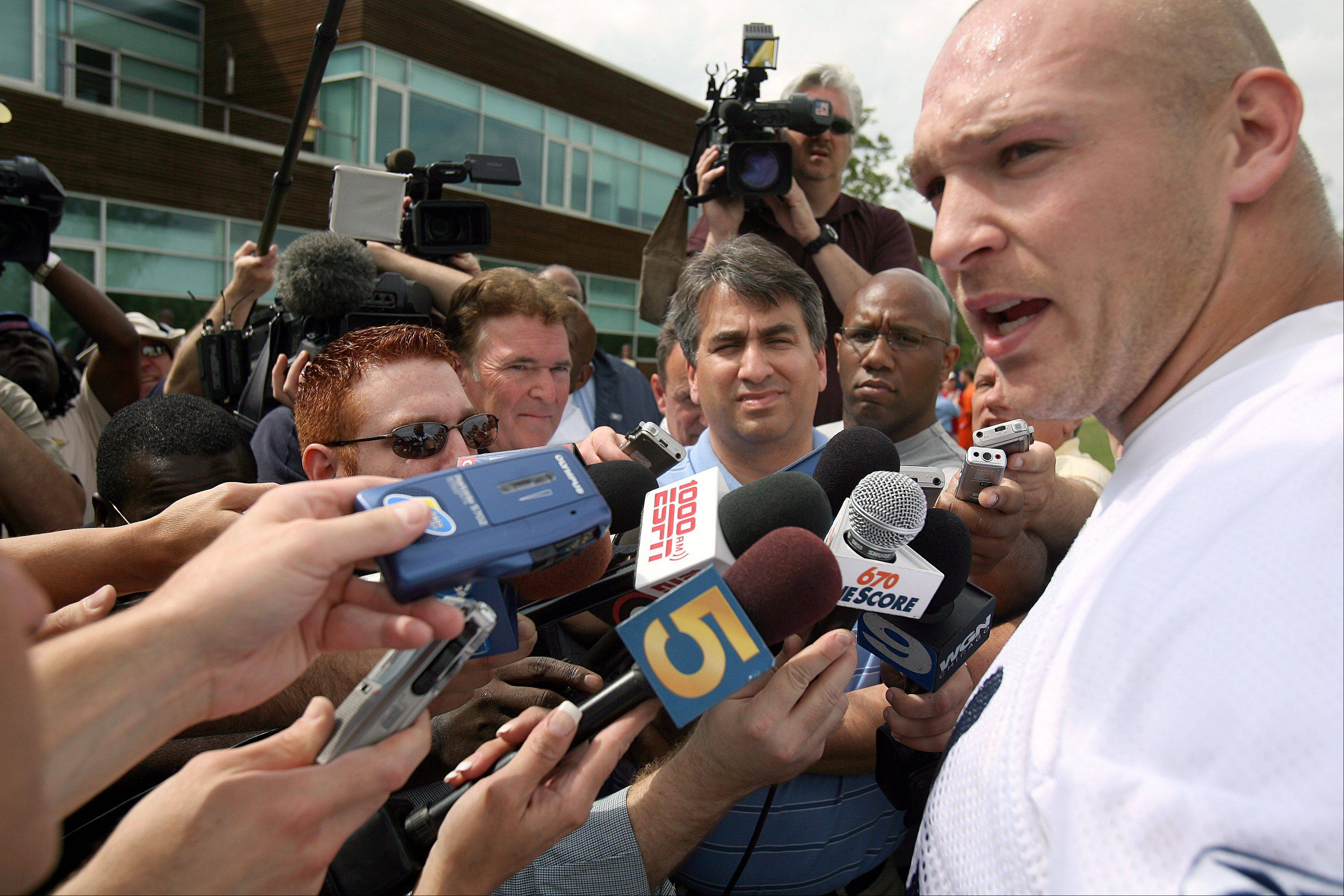 Brain Urlacher talks to the media followng the Bears first day of mini-camp.