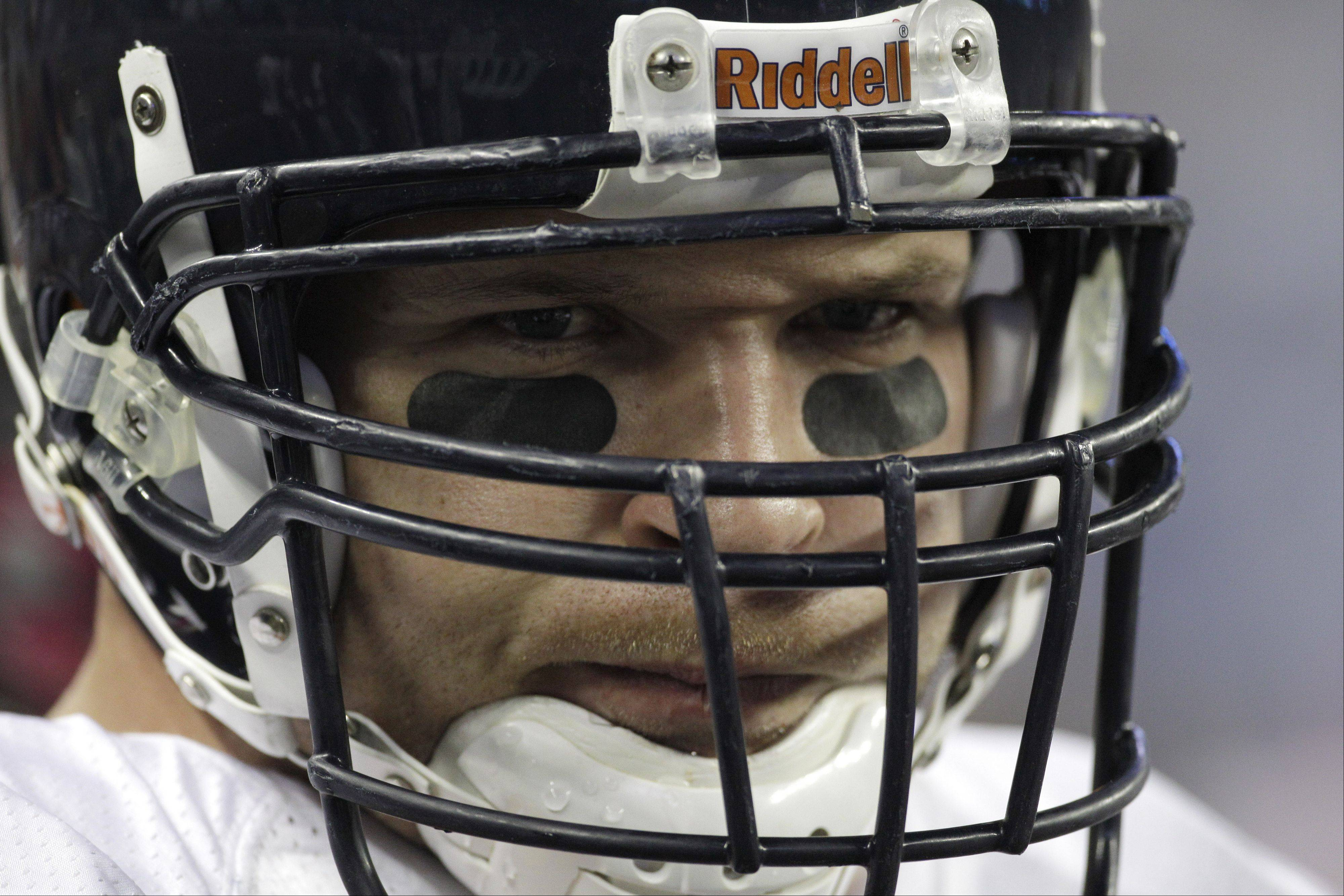 Chicago Bears middle linebacker Brian Urlacher (54) watches against the Detroit Lions in the first quarter of their NFL football game in Detroit, Monday, Oct. 10, 2011.