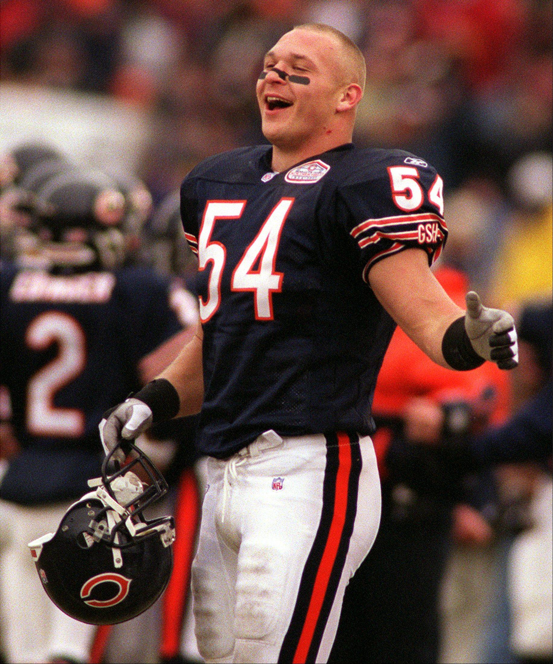 Brian Urlacher is all smiles after a Paul Edinger field goal against Jacksonville.