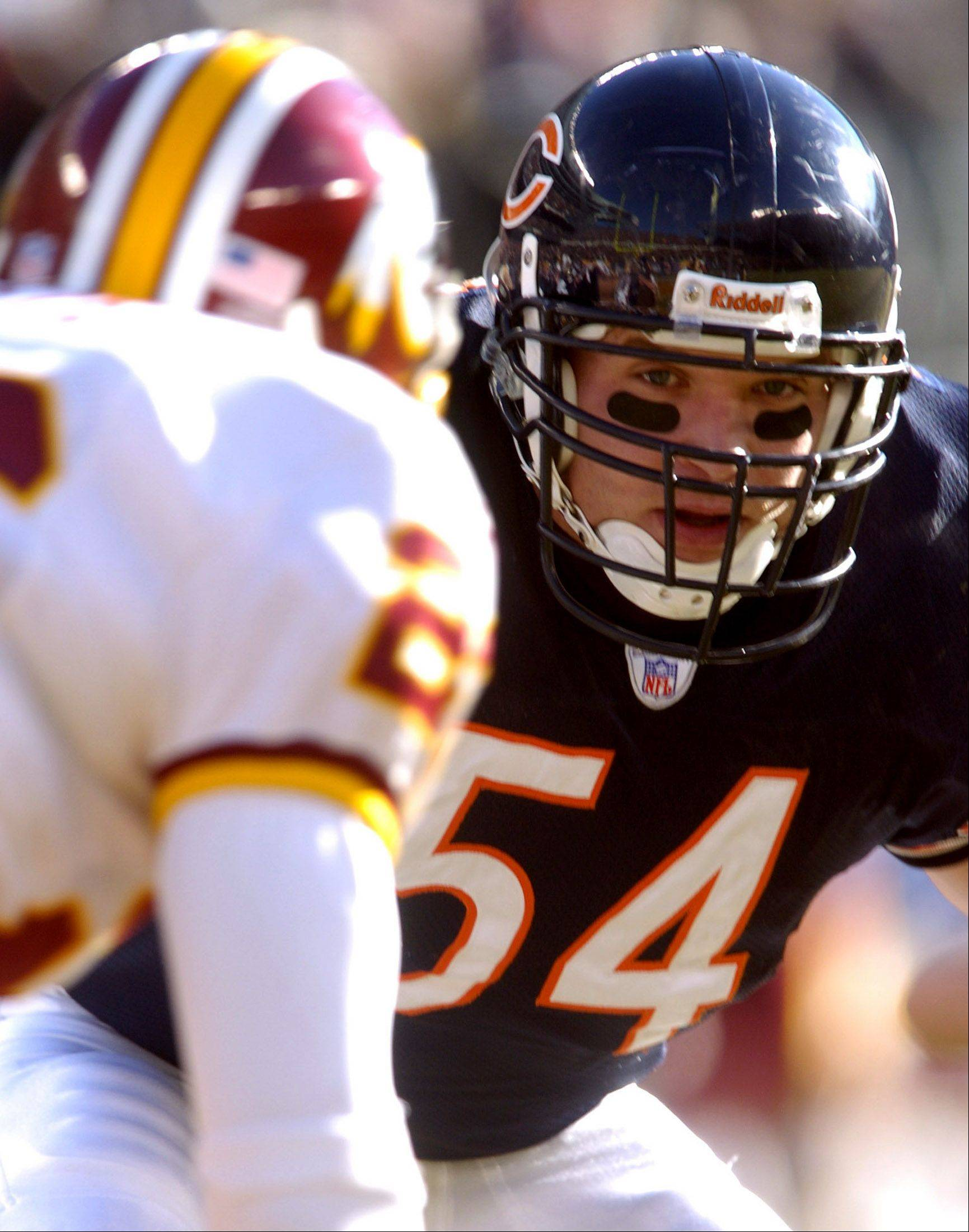 Brian Urlacher against the Washington Redskins.