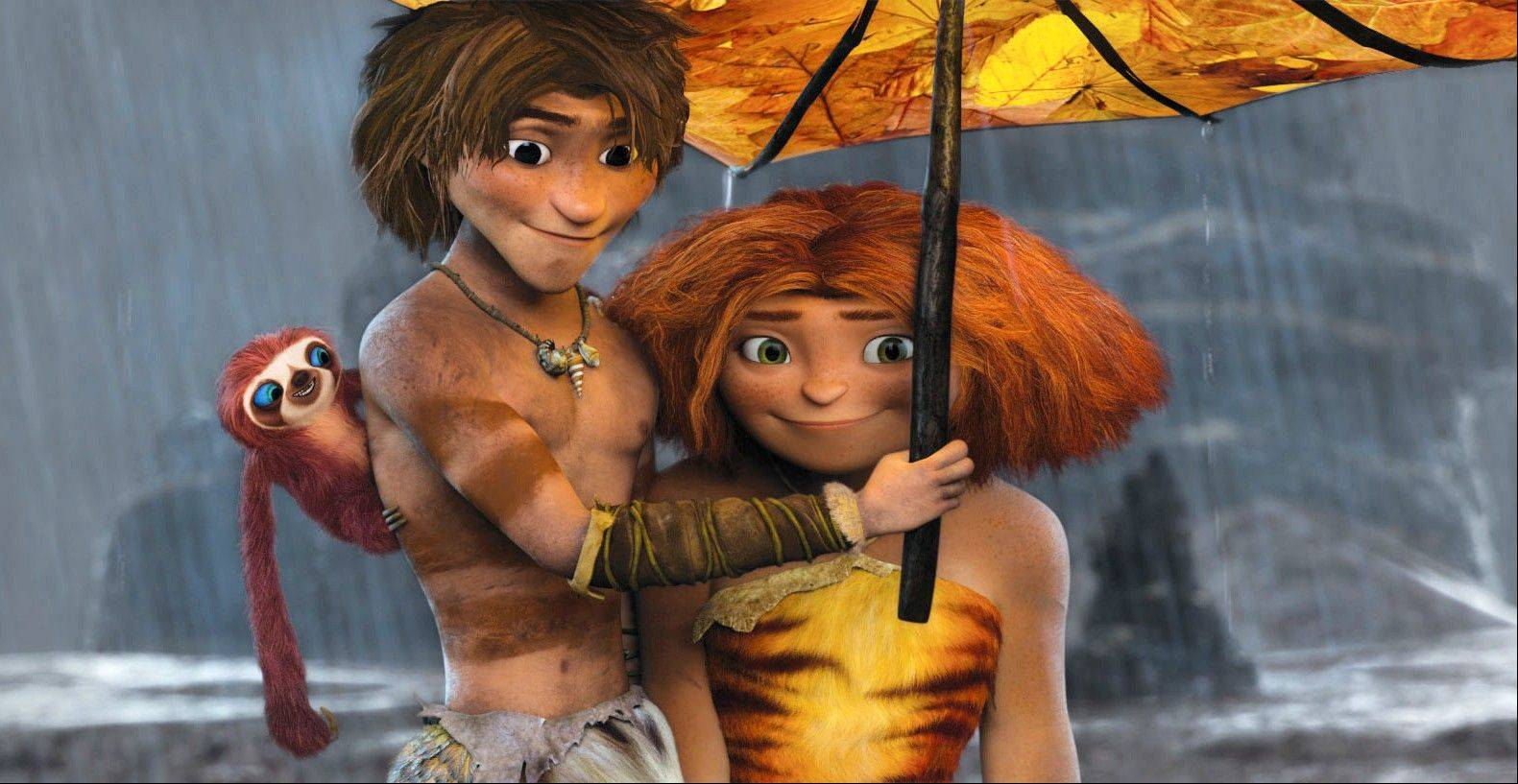Guy (voiced by Ryan Reynolds) shows cavegirl Eep, (voiced by Emma Stone) the way to a better life in