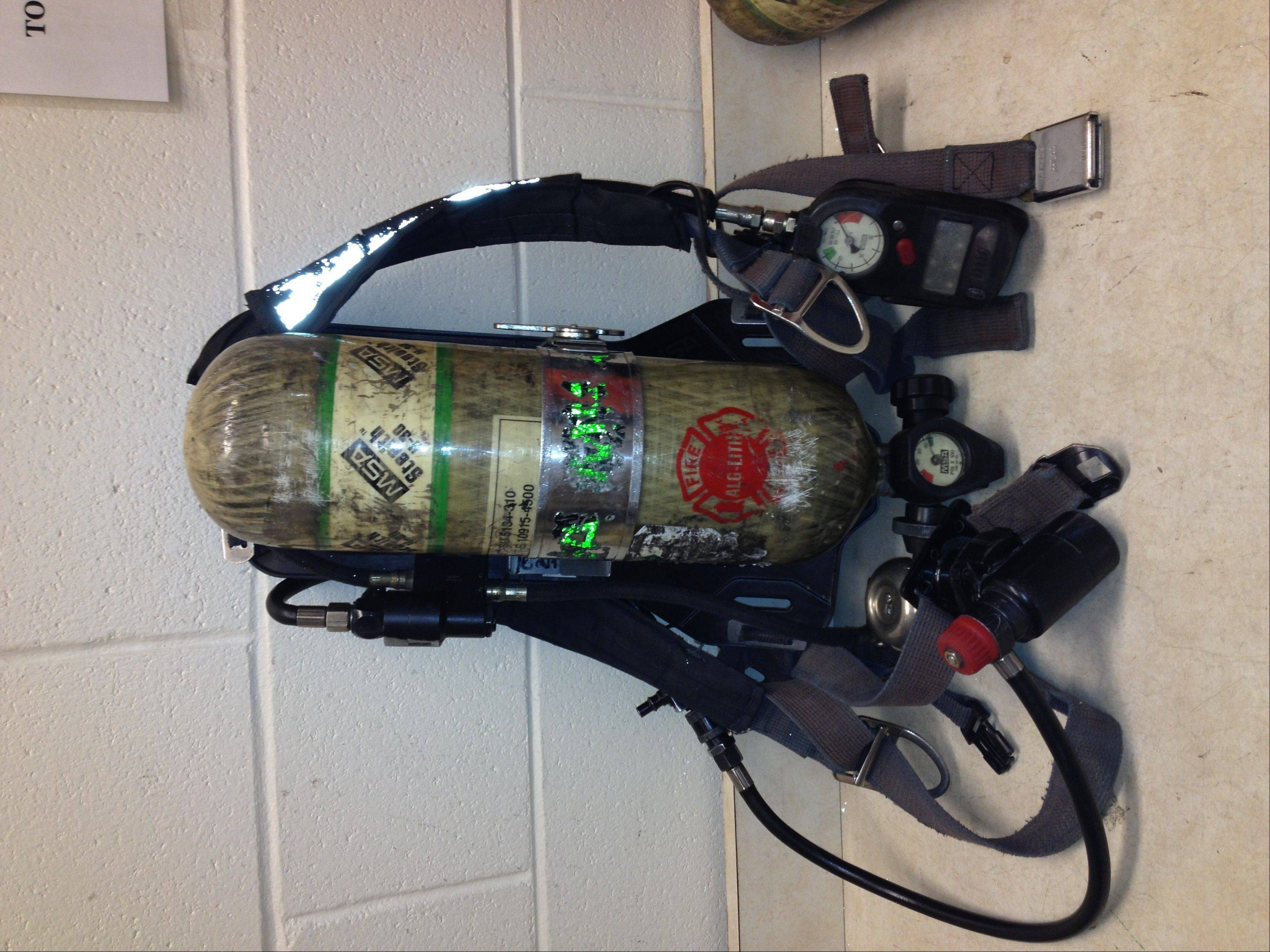 This is one of the 55 air packs the Algonquin/Lake in the Hills Fire Protection District will replace.